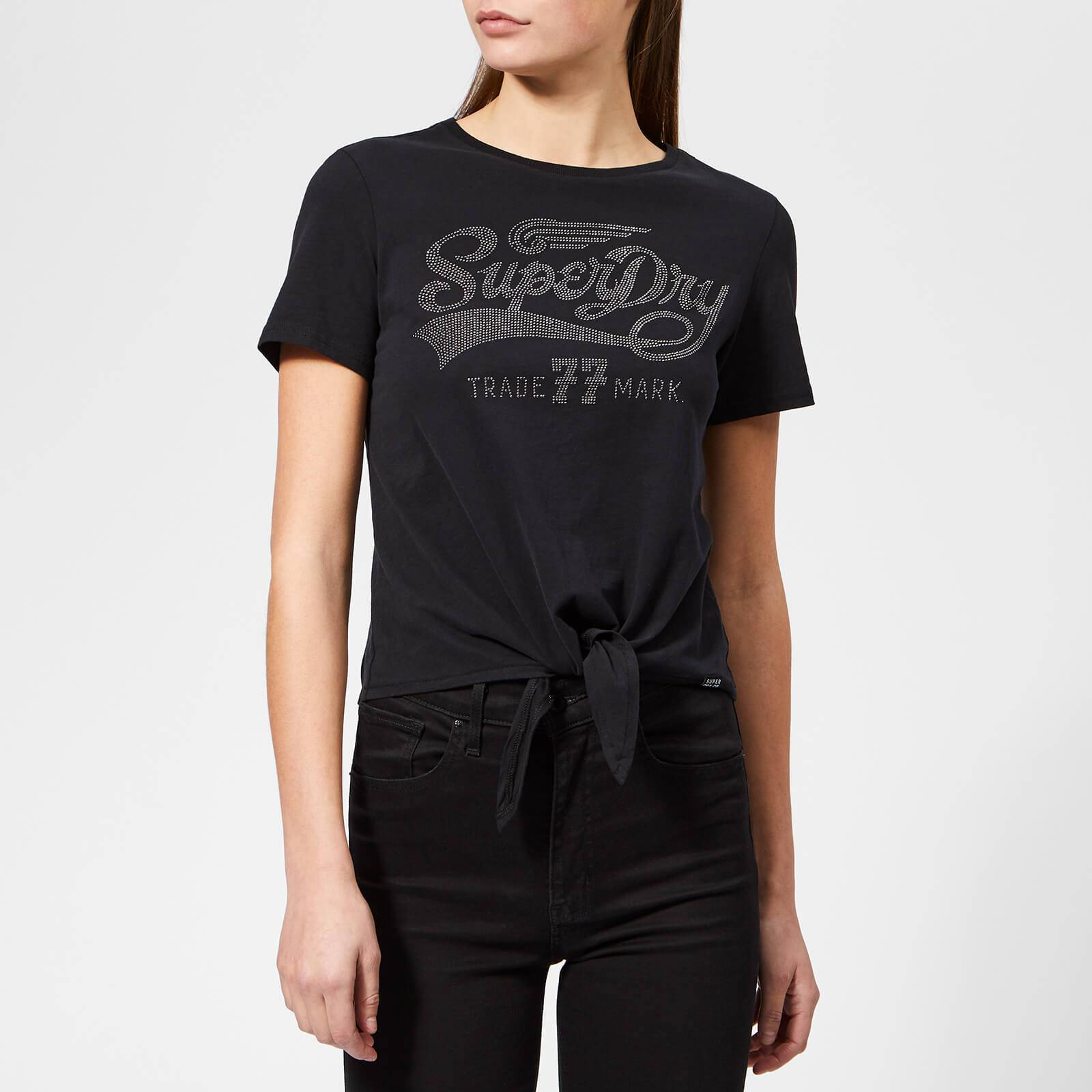 Superdry Women's Deluxe 77 Knot Front T-Shirt - Black - UK 14 - Black