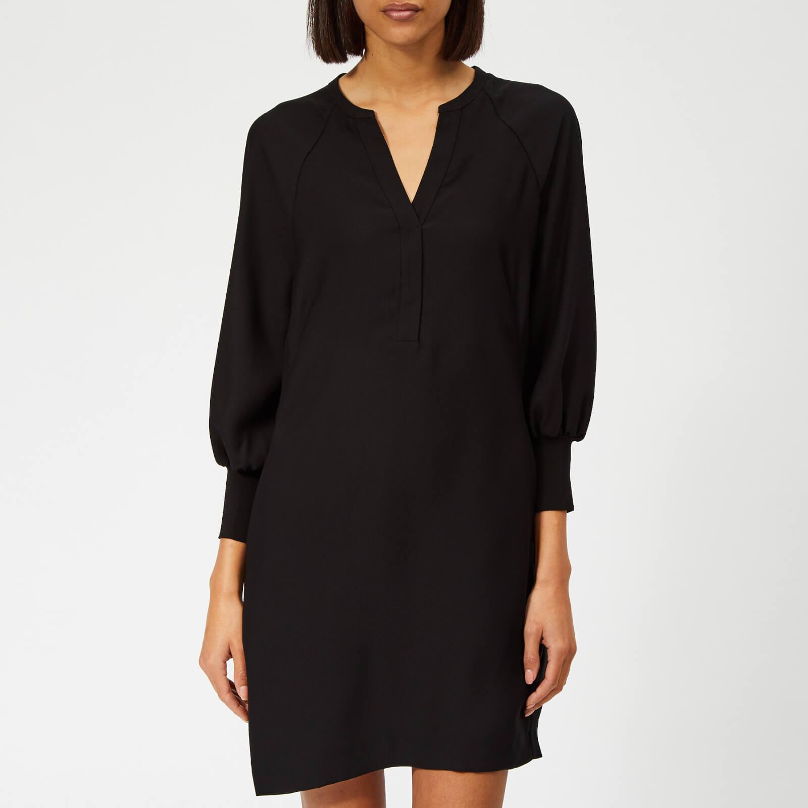 Whistles Women's Zeta Ribbed Cuff Crepe Dress - Black - UK 8 - Black