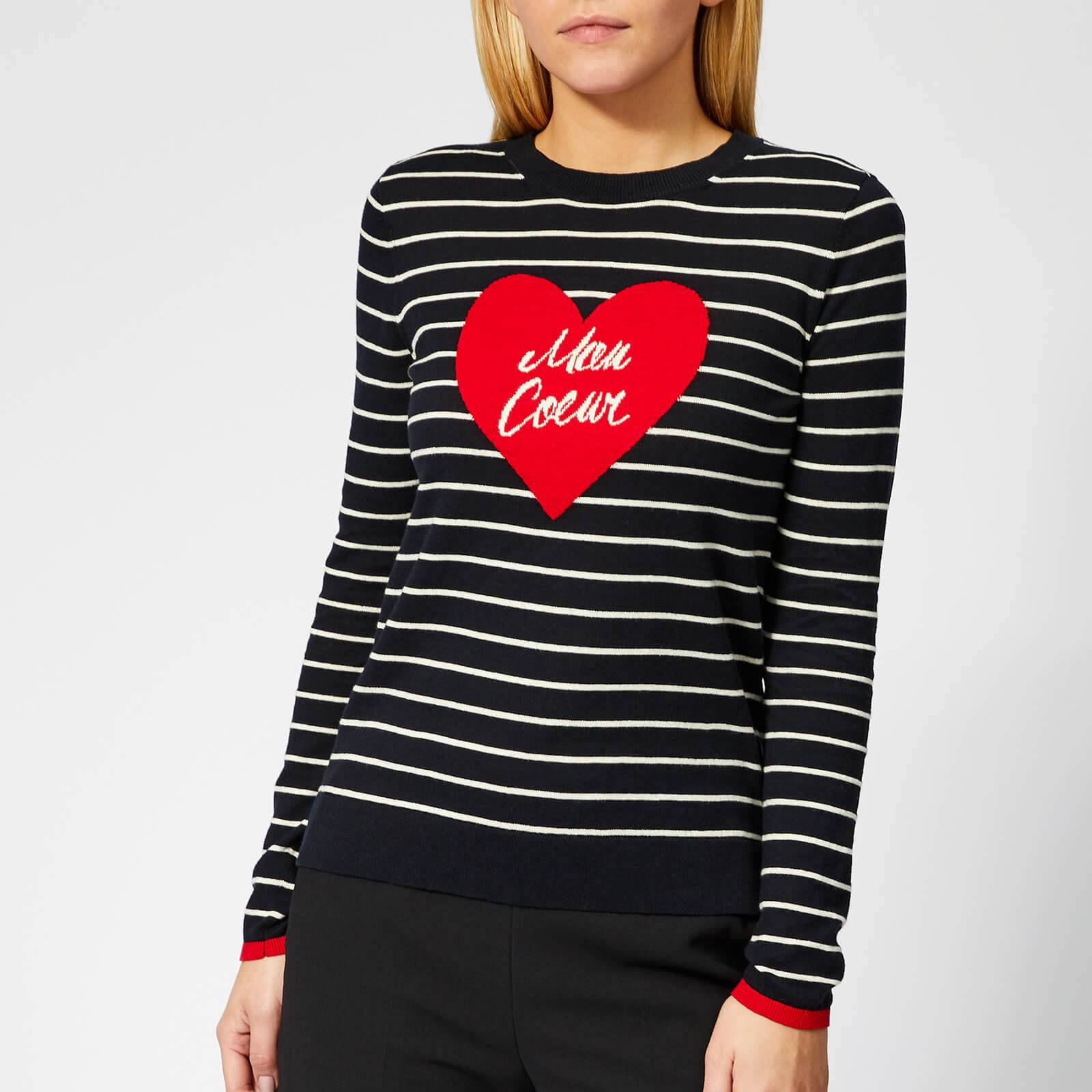 Whistles Women's Mon Coeur Heart Stripe Knit Jumper - Multicolour - UK 10 - Multi