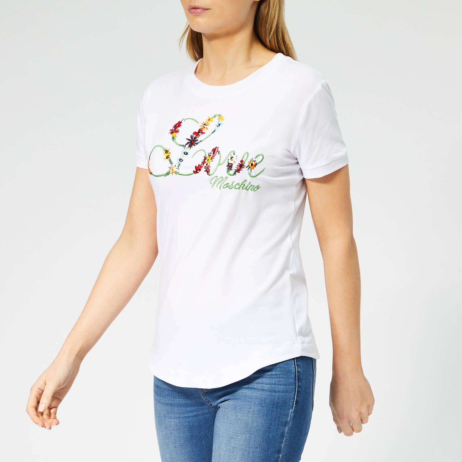 Moschino Love Moschino Women's Floral Logo T-Shirt - Optical White - IT 42/UK 10 - White