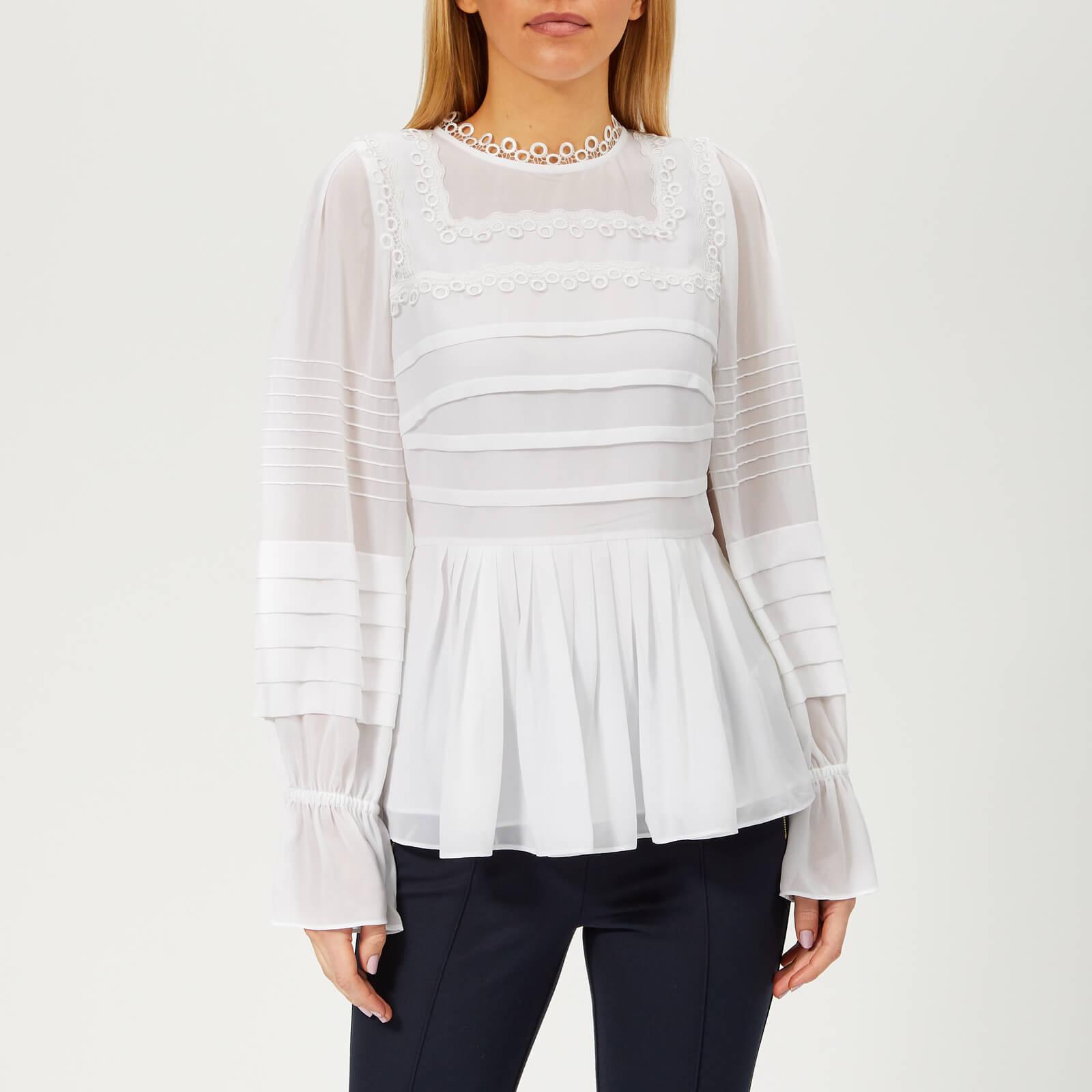 Ted Baker Women's Roobee Pintuck Detailing Long Sleeve Top - White - 4/UK 14 - White