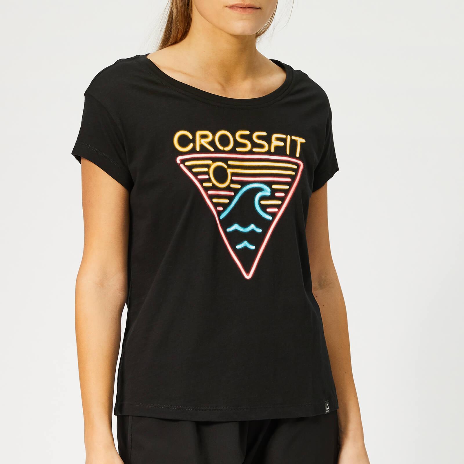 Reebok Women's Crossfit Neon Retro Easy Short Sleeve T-Shirt - Black - L - Black