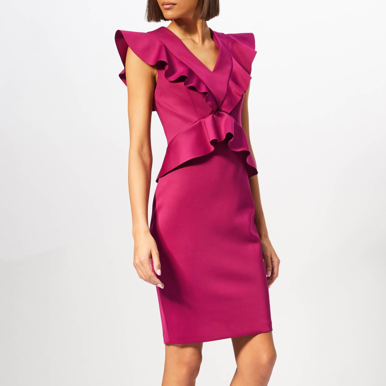 Ted Baker Women's Alair Ruffle Peplum Bodycon Dress - Deep-Pink - 2/UK 10 - Pink