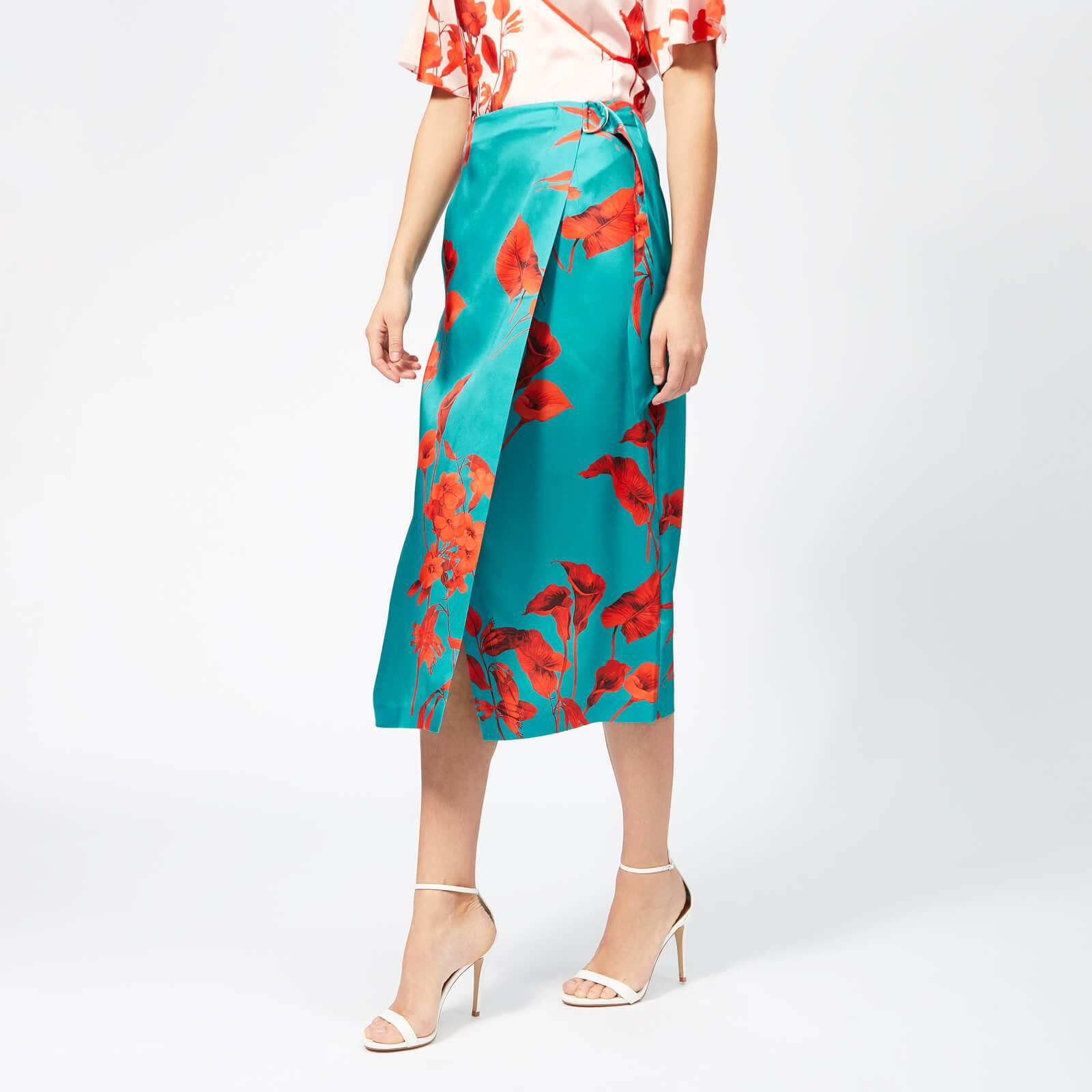 Ted Baker Women's Lilyyy Fantasia Split Hem Midi Skirt - Turquoise - 1/UK 8 - Blue