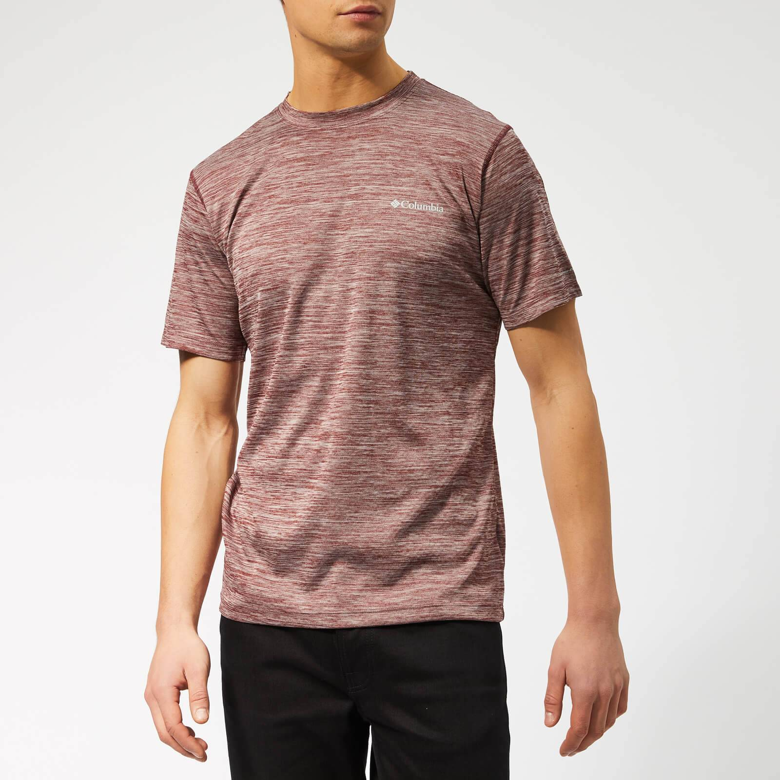 Columbia Men's Zero Rules Short Sleeve T-Shirt - Tapestry Heather - L - Red