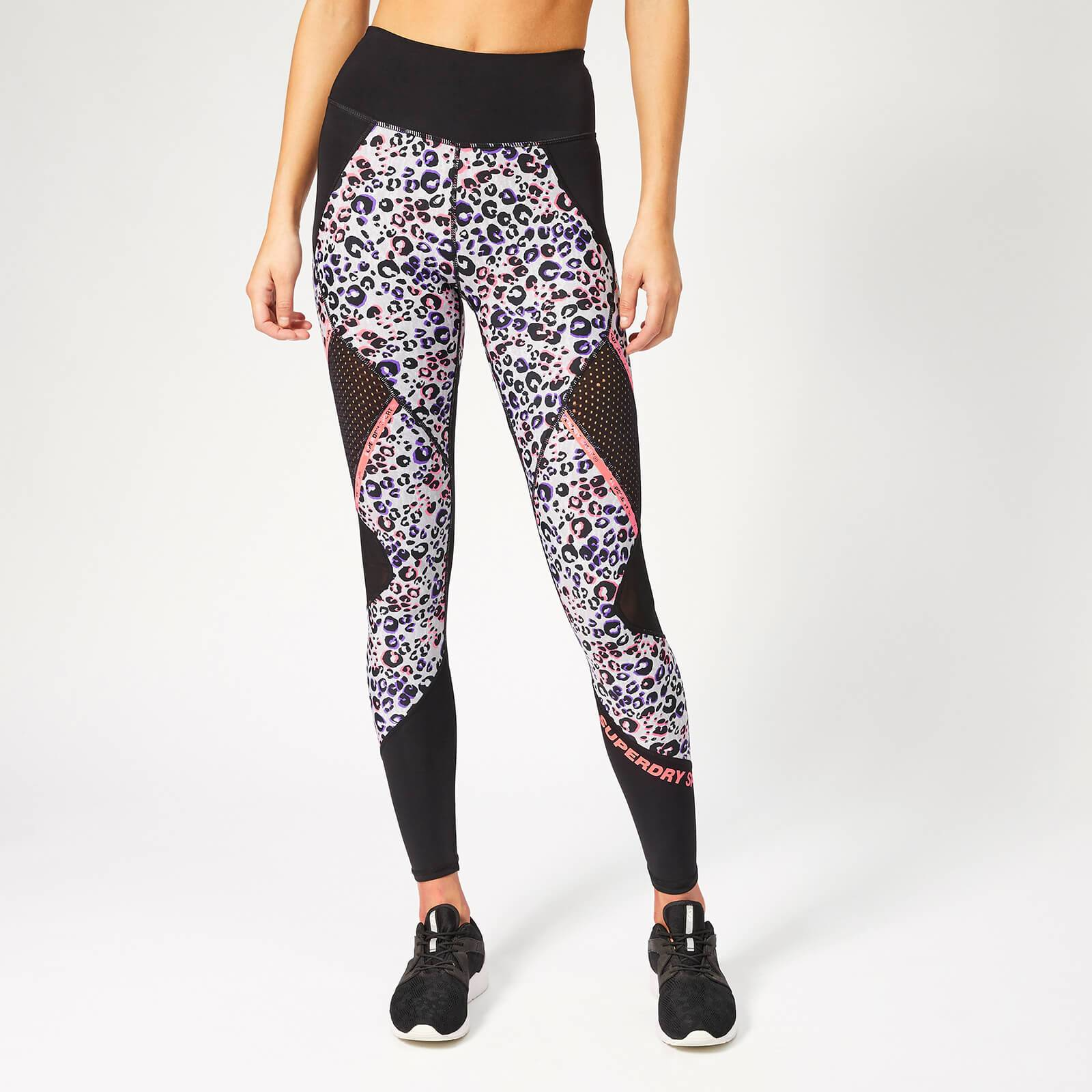 Superdry Sport Women's Active Mesh Panel Leggings - Lola Leopard Coral Print - XXS/UK 6 - Multi