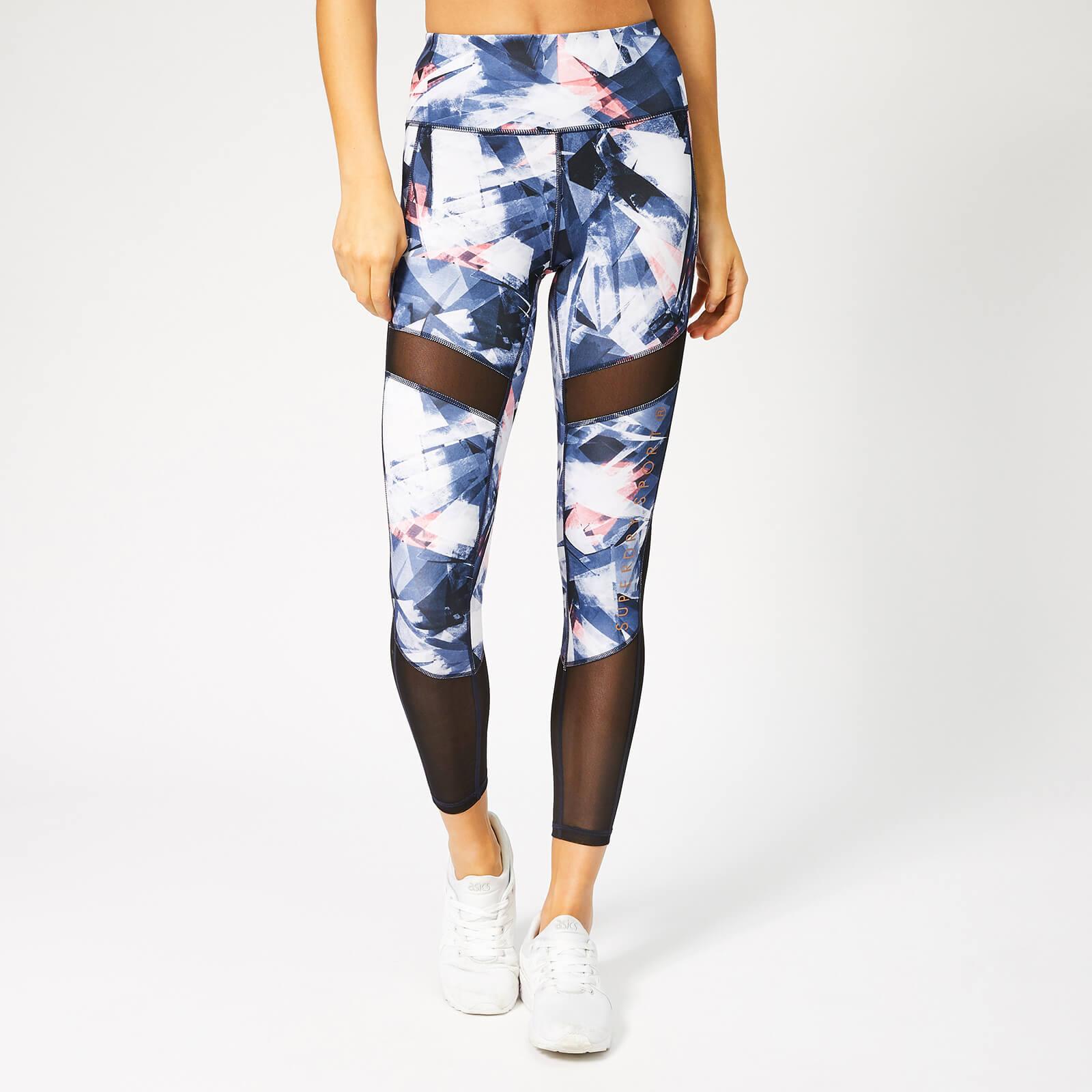 Superdry Sport Women's Active Studio Mesh Leggings - Violet Shard Print - L - Blue