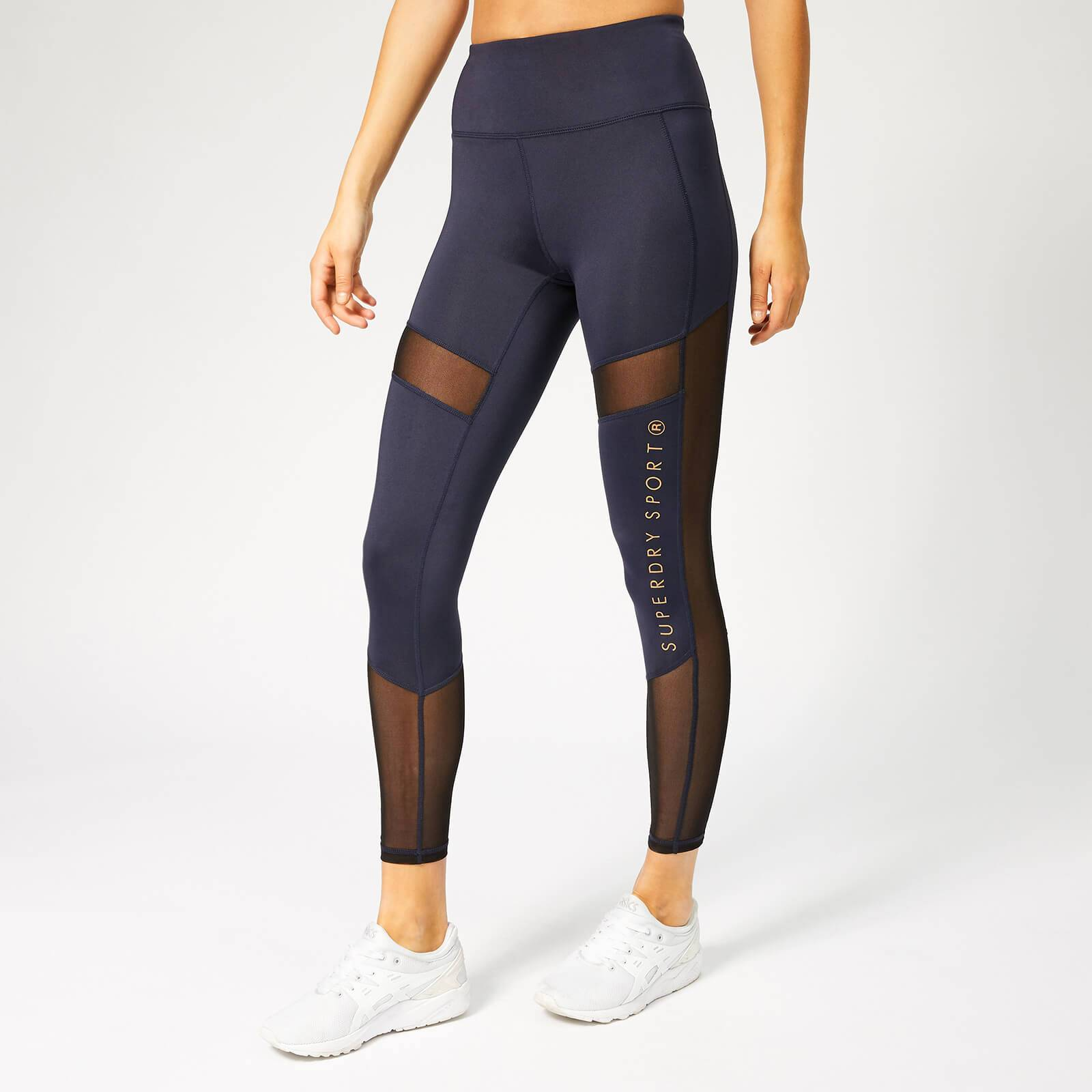 Superdry Sport Women's Active Studio Mesh Leggings - Eclispe Navy Marl - L - Blue