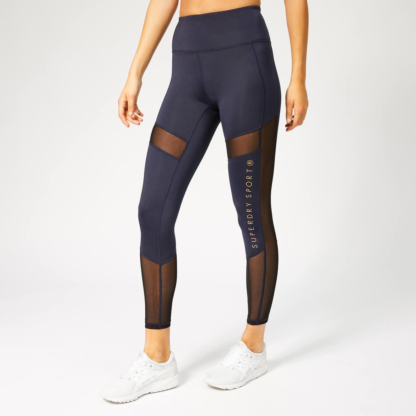 Superdry Sport Women's Active Studio Mesh Leggings - Eclispe Navy Marl - L - Blue