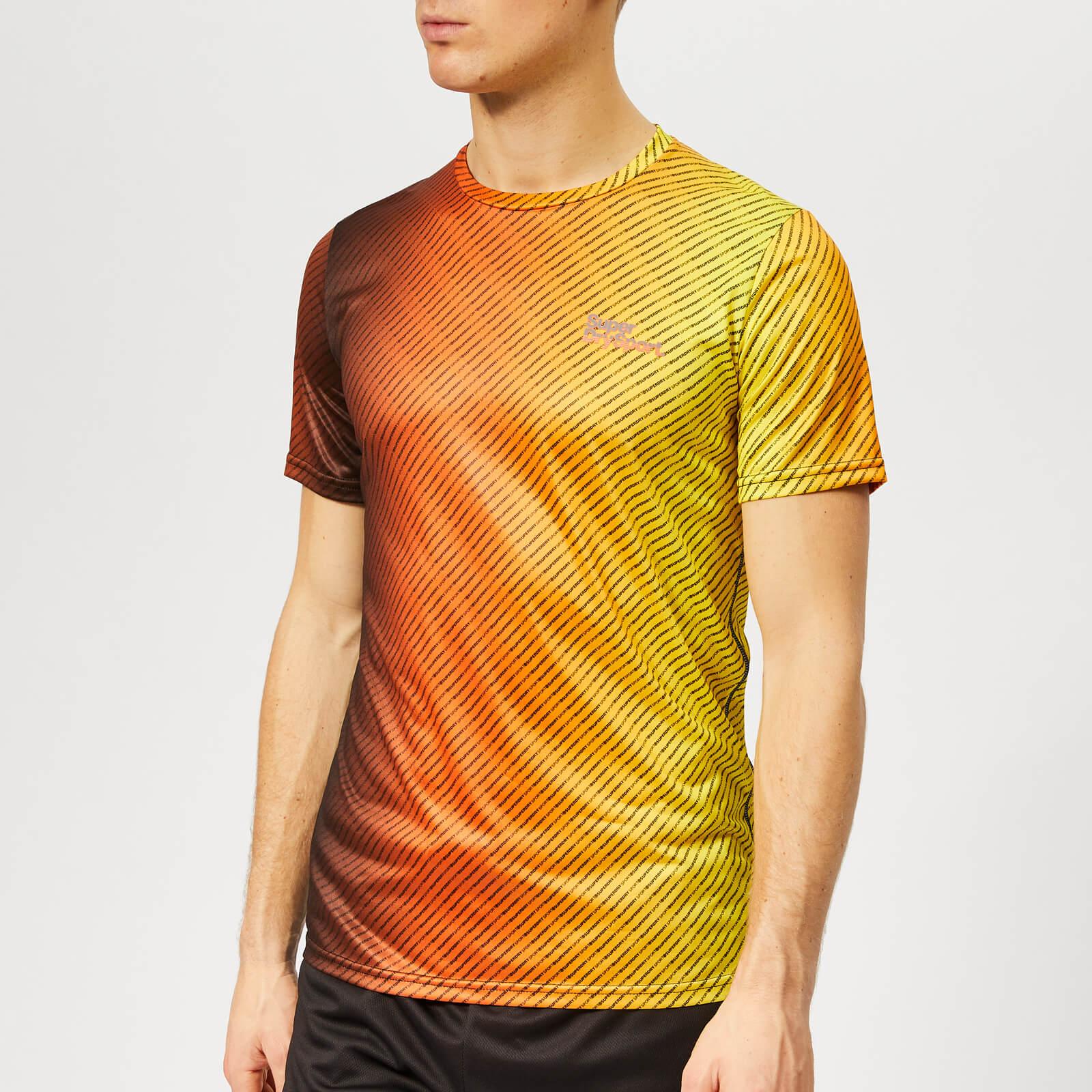 Superdry Sport Men's Active All Over Print T-Shirt - Fluro Orange Ombre - S - Orange