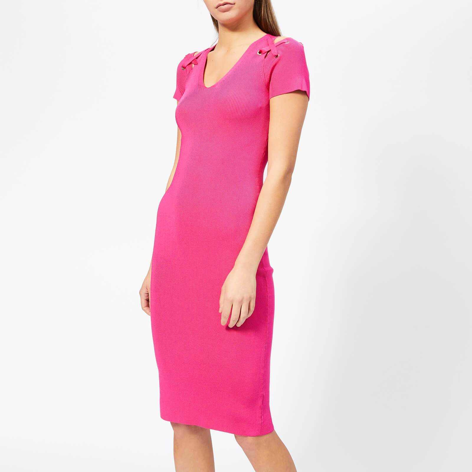 MICHAEL MICHAEL KORS Women's Cut Out Lace Up V Neck Dress - Electric Pink - S - Pink