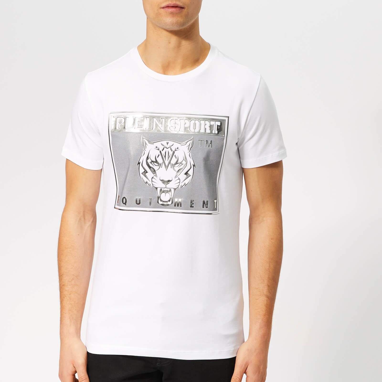 Plein Sport Men's Round Neck Tiger T-Shirt - White - L - White