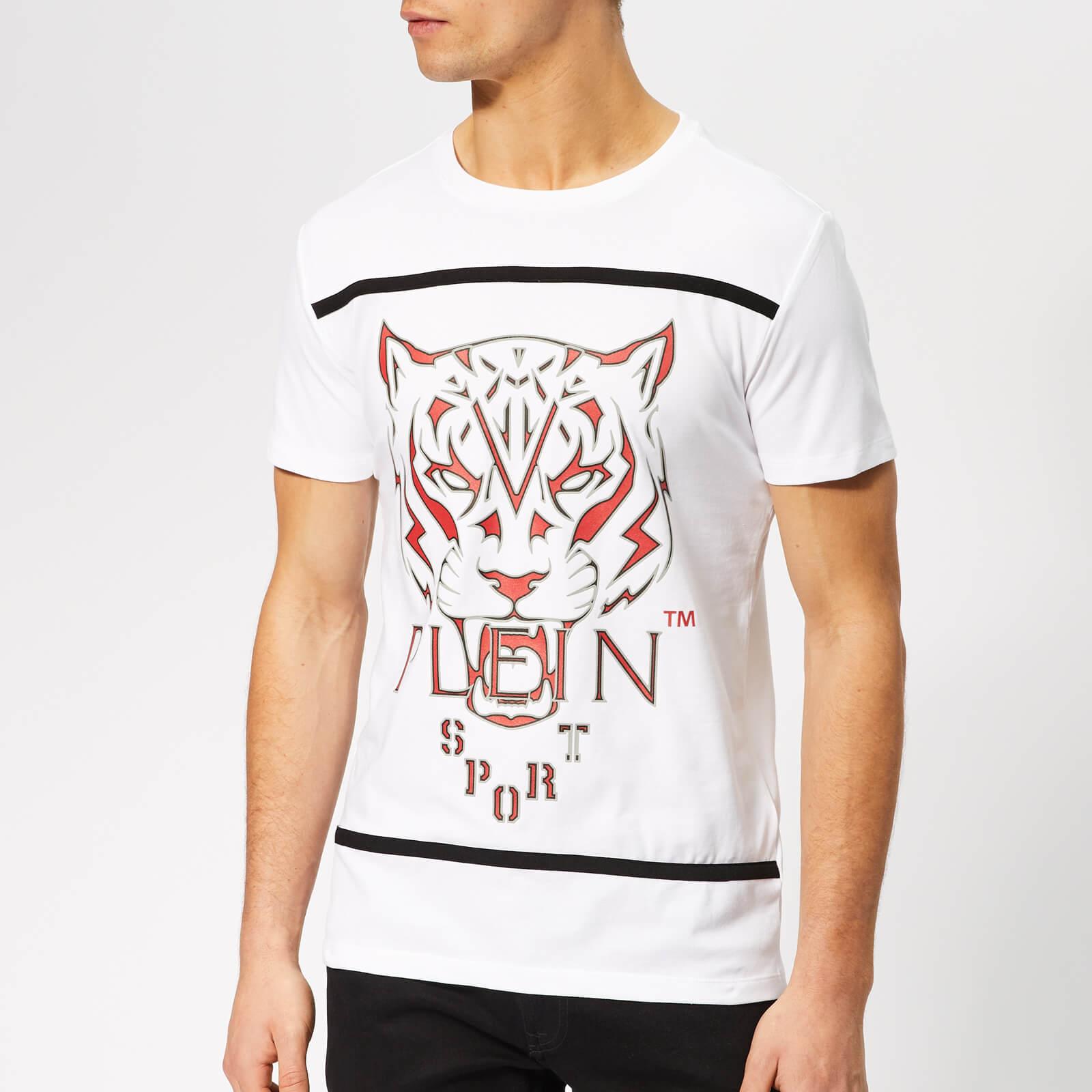 Plein Sport Men's Round Neck Tiger T-Shirt - White/Grey - L - White/Grey