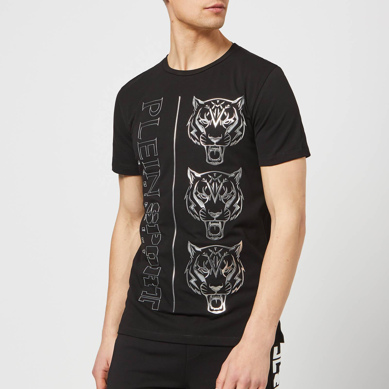 Plein Sport Men's Round Neck Tiger T-Shirt - Black/Silver - XL - Black/Silver