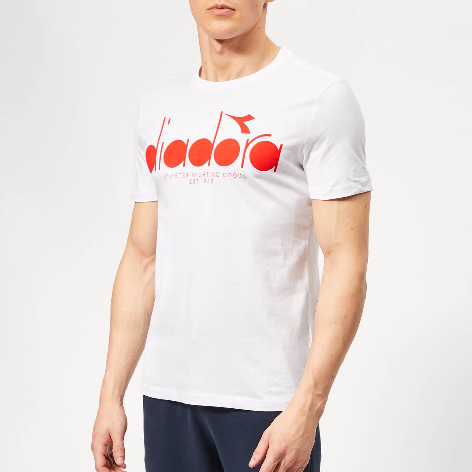 Diadora Men's Bl Short Sleeve T-Shirt - Optical White Fiesta - XS