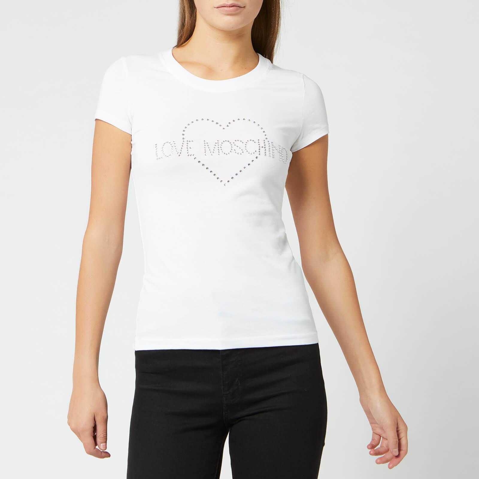 Moschino Love Moschino Women's Diamonte Logo T-Shirt - Optical White - IT 40/UK 8 - White