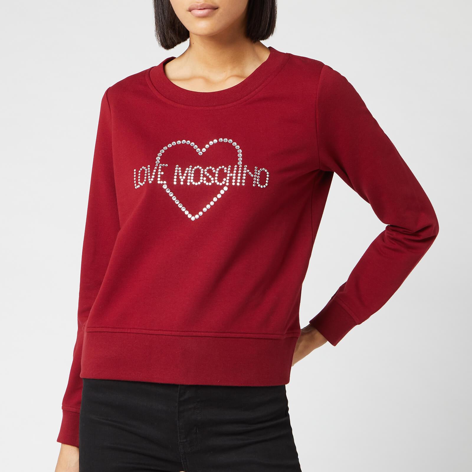 Moschino Love Moschino Women's Crystal Logo Sweater - Red - IT 38/UK 6 - Red