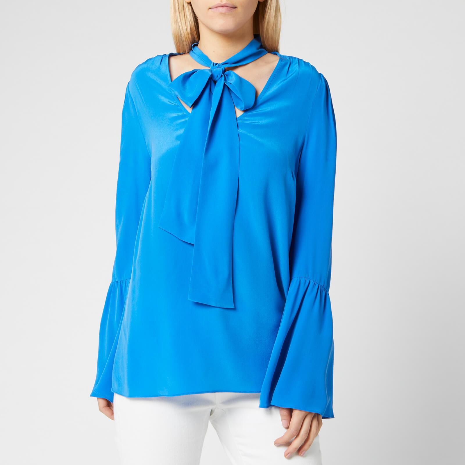 MICHAEL MICHAEL KORS Women's Bell Sleeve Silk Top - Grecian Blue - M - Blue