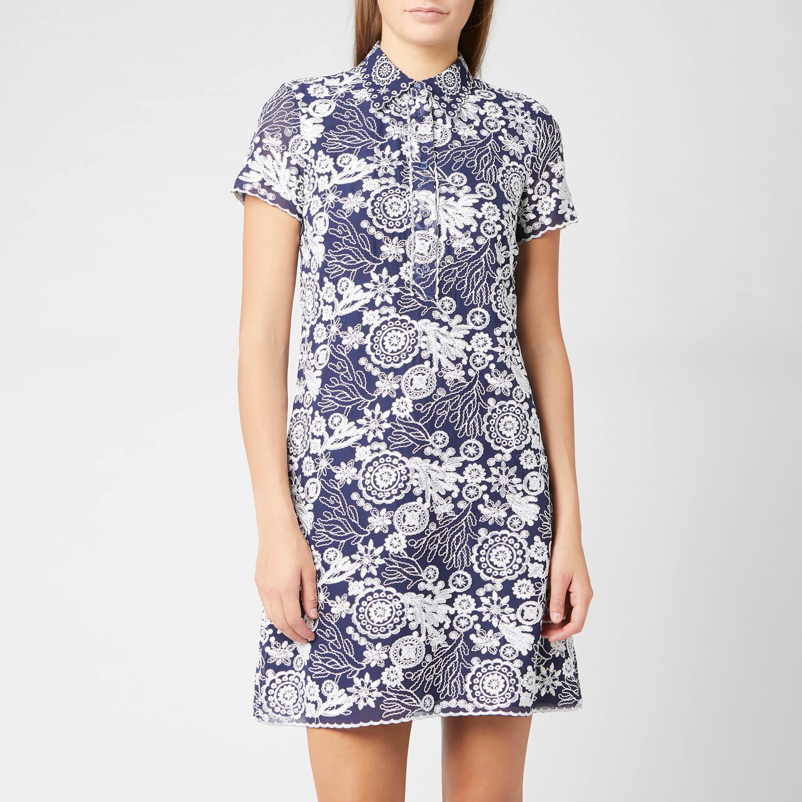 MICHAEL MICHAEL KORS Women's Embroidered T-Shirt Dress - True Navy/White - US 4/UK 8 - Blue