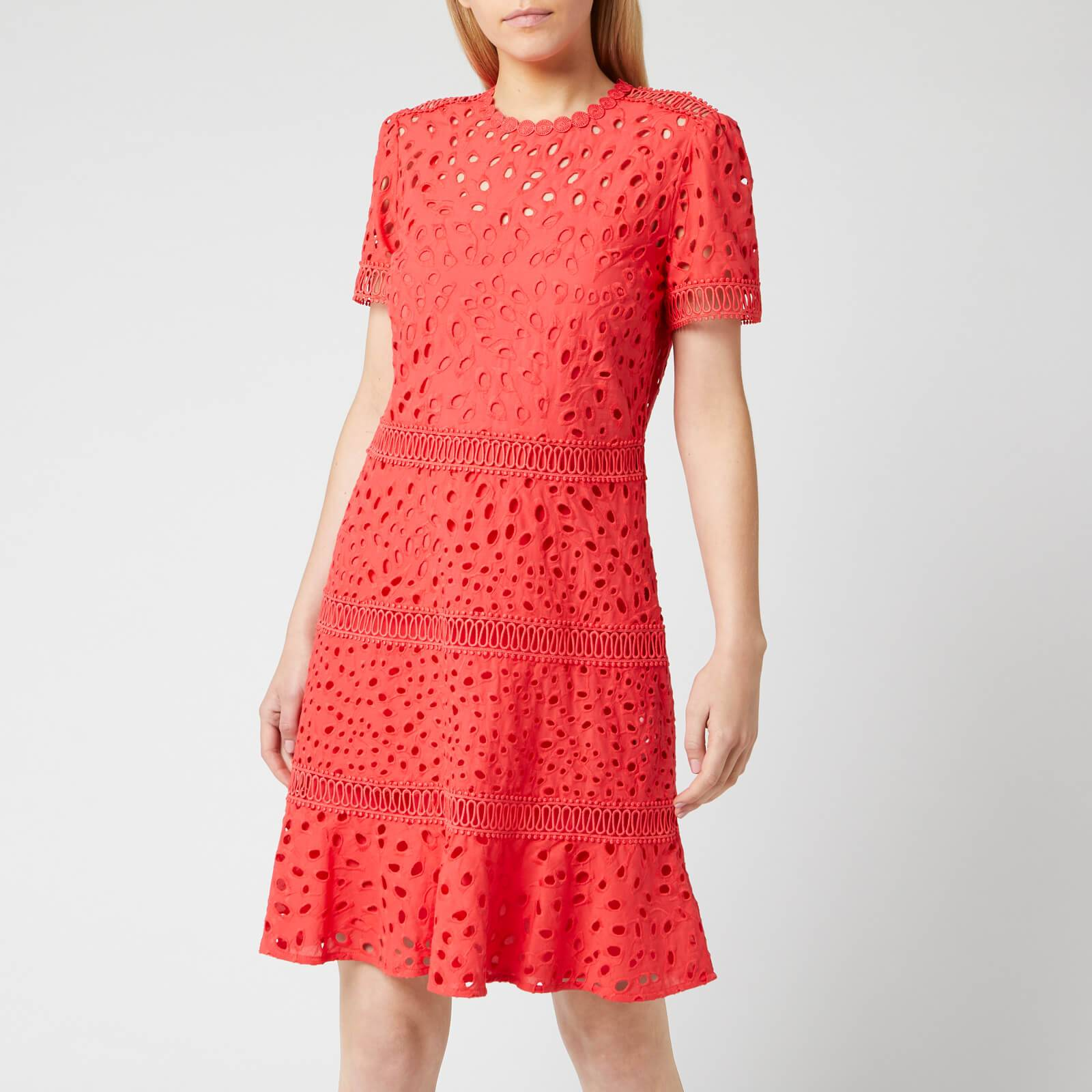 MICHAEL MICHAEL KORS Women's Eyelet Mix Dress - Sea Coral - US 6/UK 10 - Blue