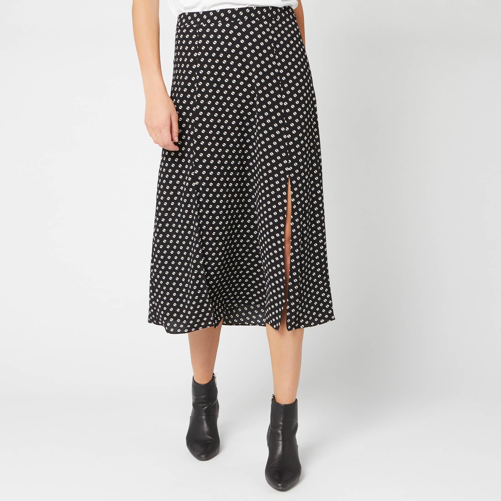 MICHAEL MICHAEL KORS Women's Slit Front Skirt - Black/Bone - US 4/UK 8 - Black