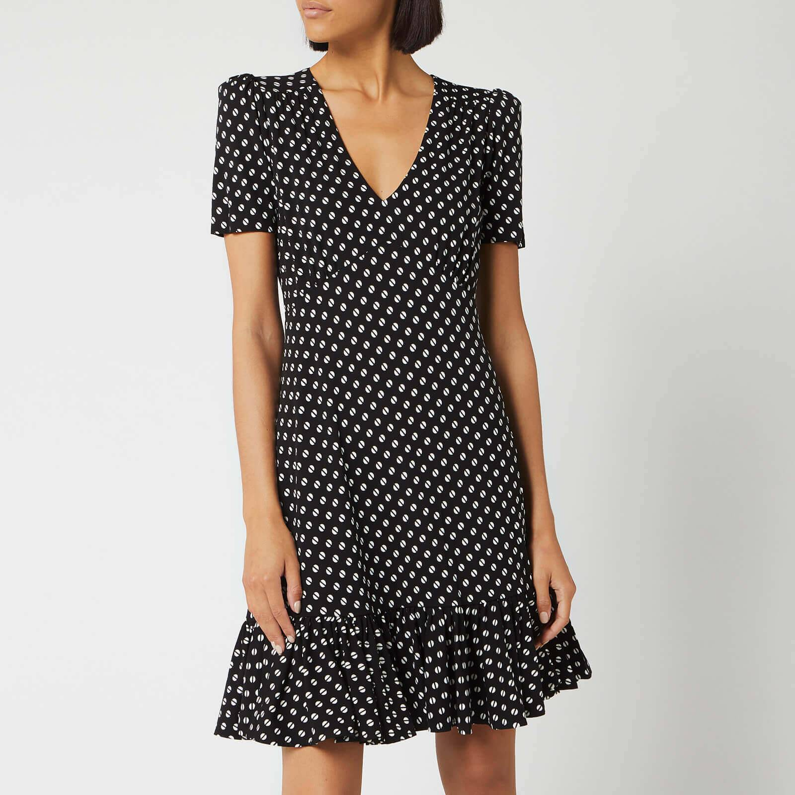 MICHAEL MICHAEL KORS Women's Dot Ruffle V Neck Dress - Black/Bone - L - Black
