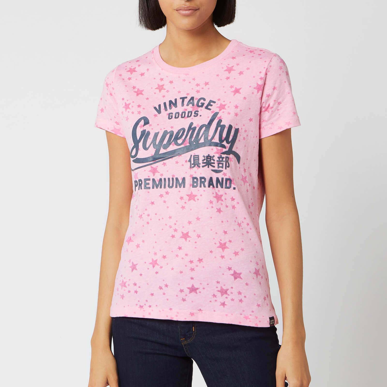 Superdry Women's Vintage Goods Star Aop Entry T-Shirt - Cherry Blossom Burn Out - UK 14 - Pink