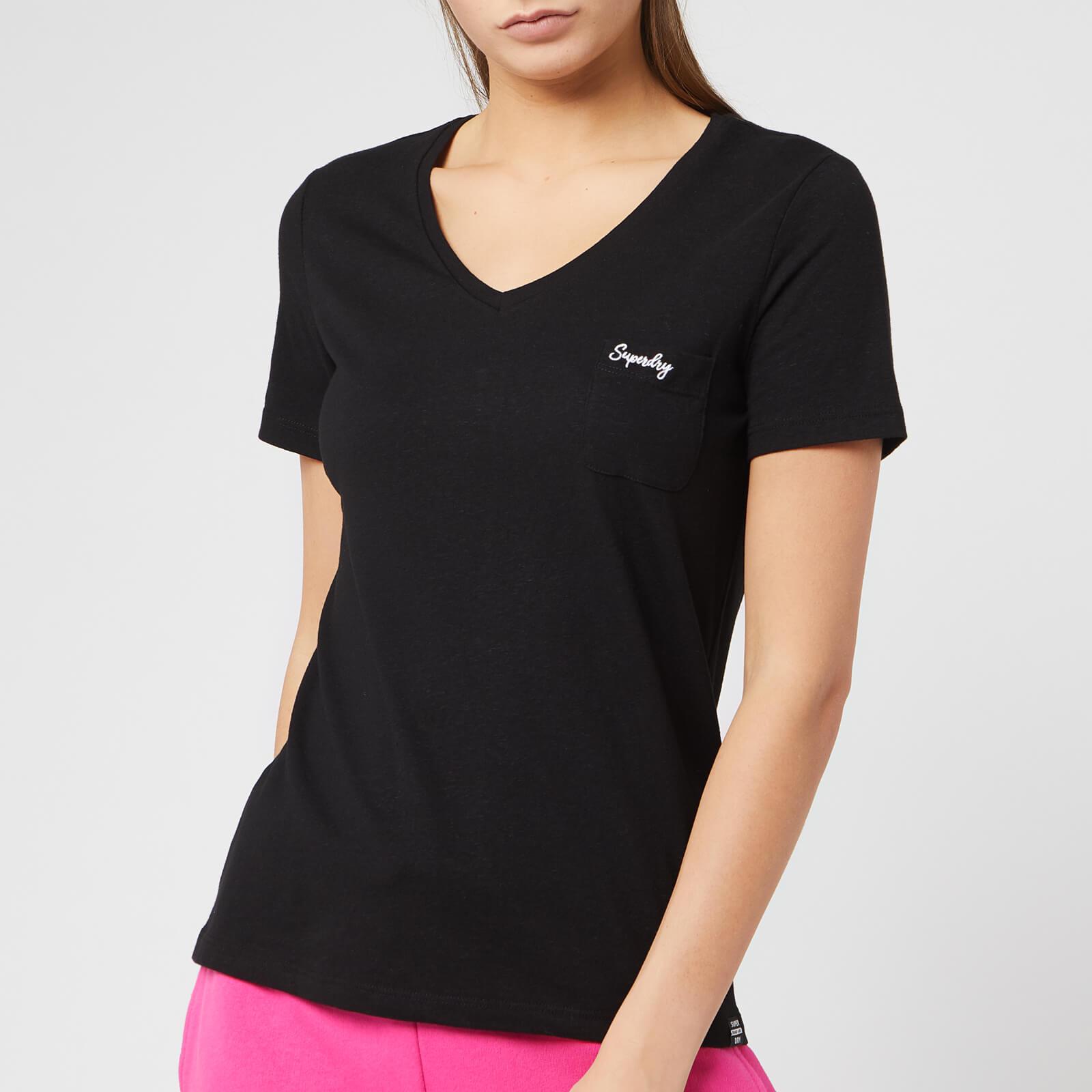 Superdry Women's Ol Essential Vee T-Shirt - Jet Black - UK 12 - Black