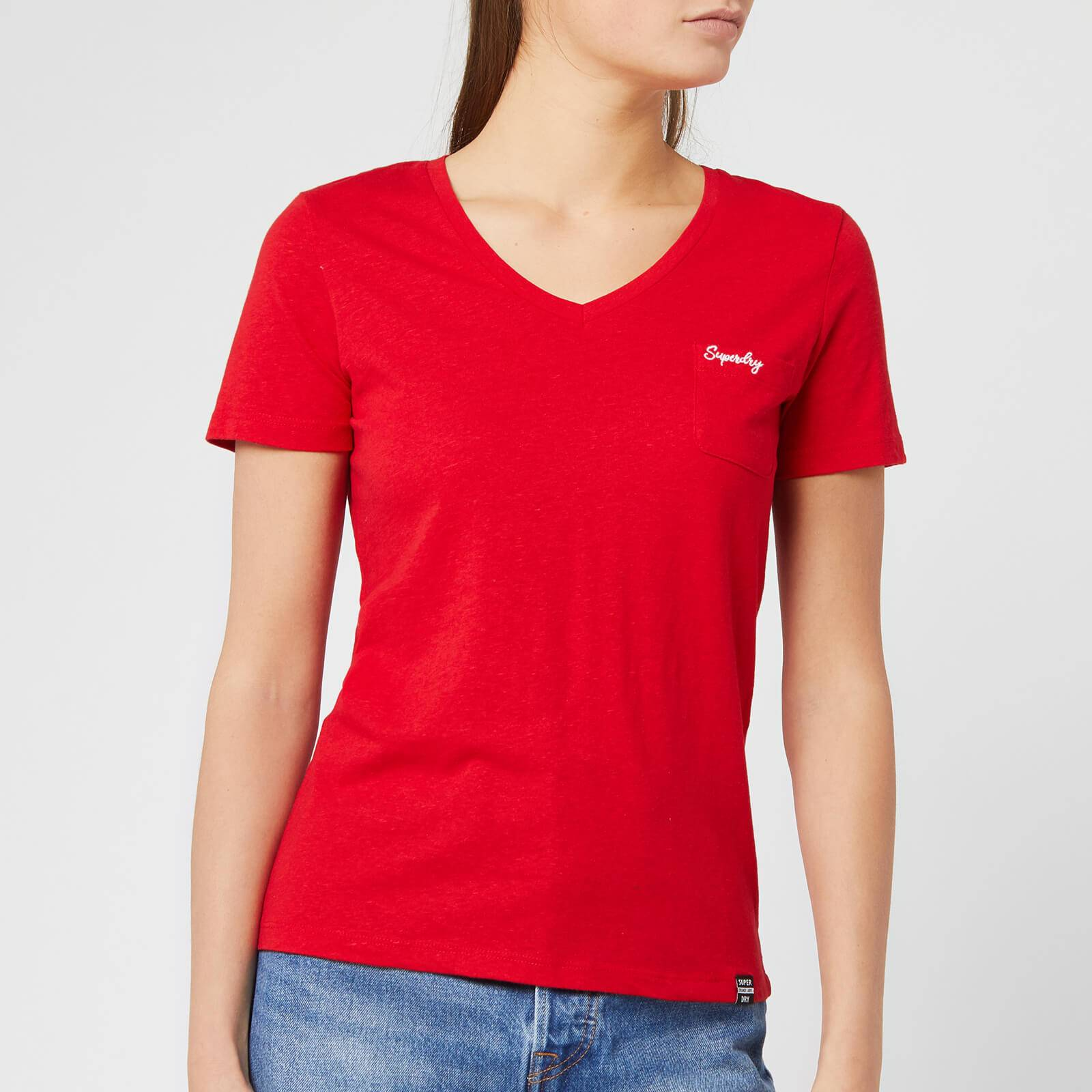 Superdry Women's Ol Essential Vee T-Shirt - Rouge Red - UK 12 - Red