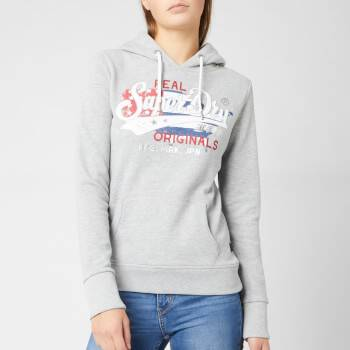 Superdry Women's Real Originals Flag Entry Hoodie - Grey Marl - UK 12 - Grey