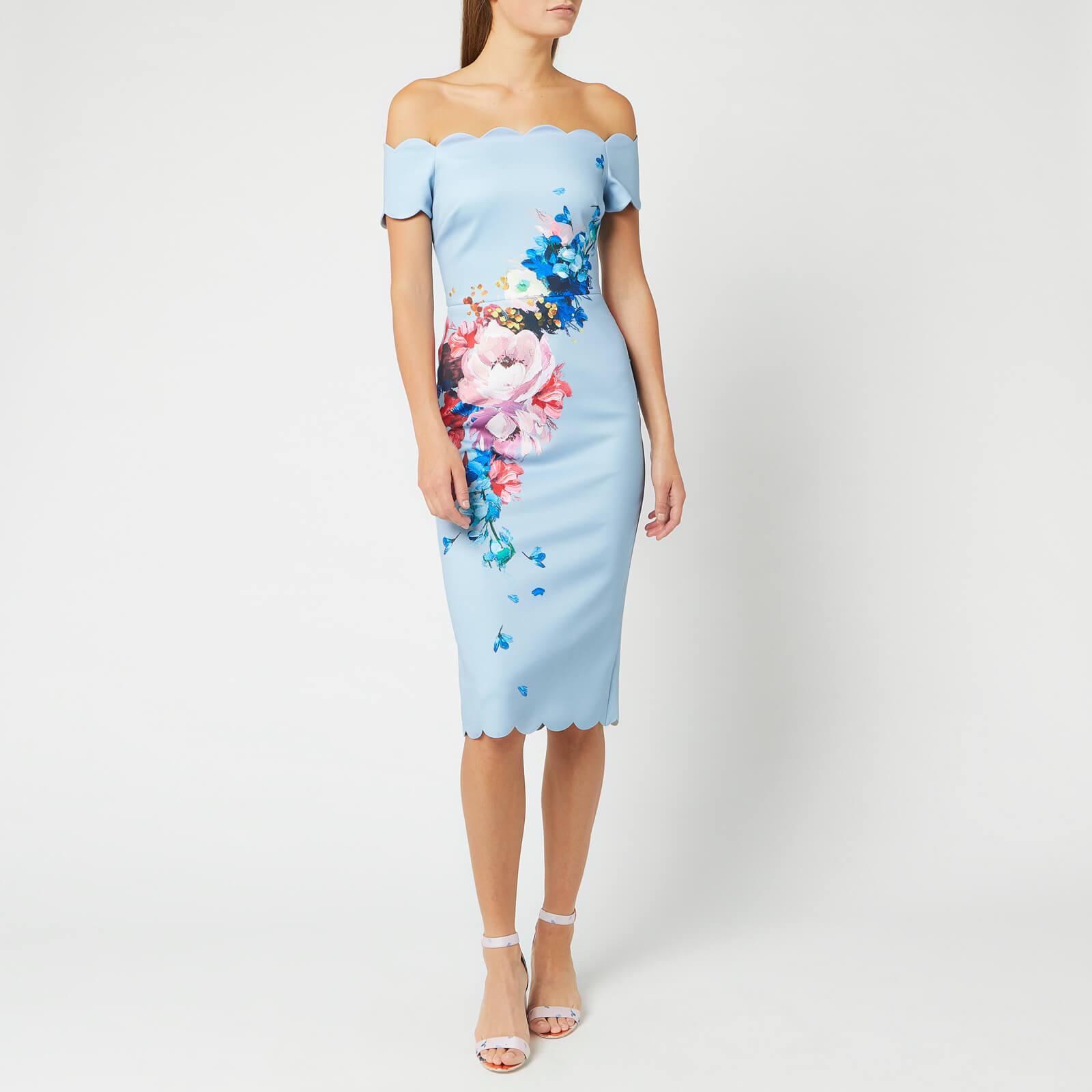Ted Baker Women's Hailly Raspberry Ripple Bardot Dress - Light Blue - 3/UK 12 - Blue