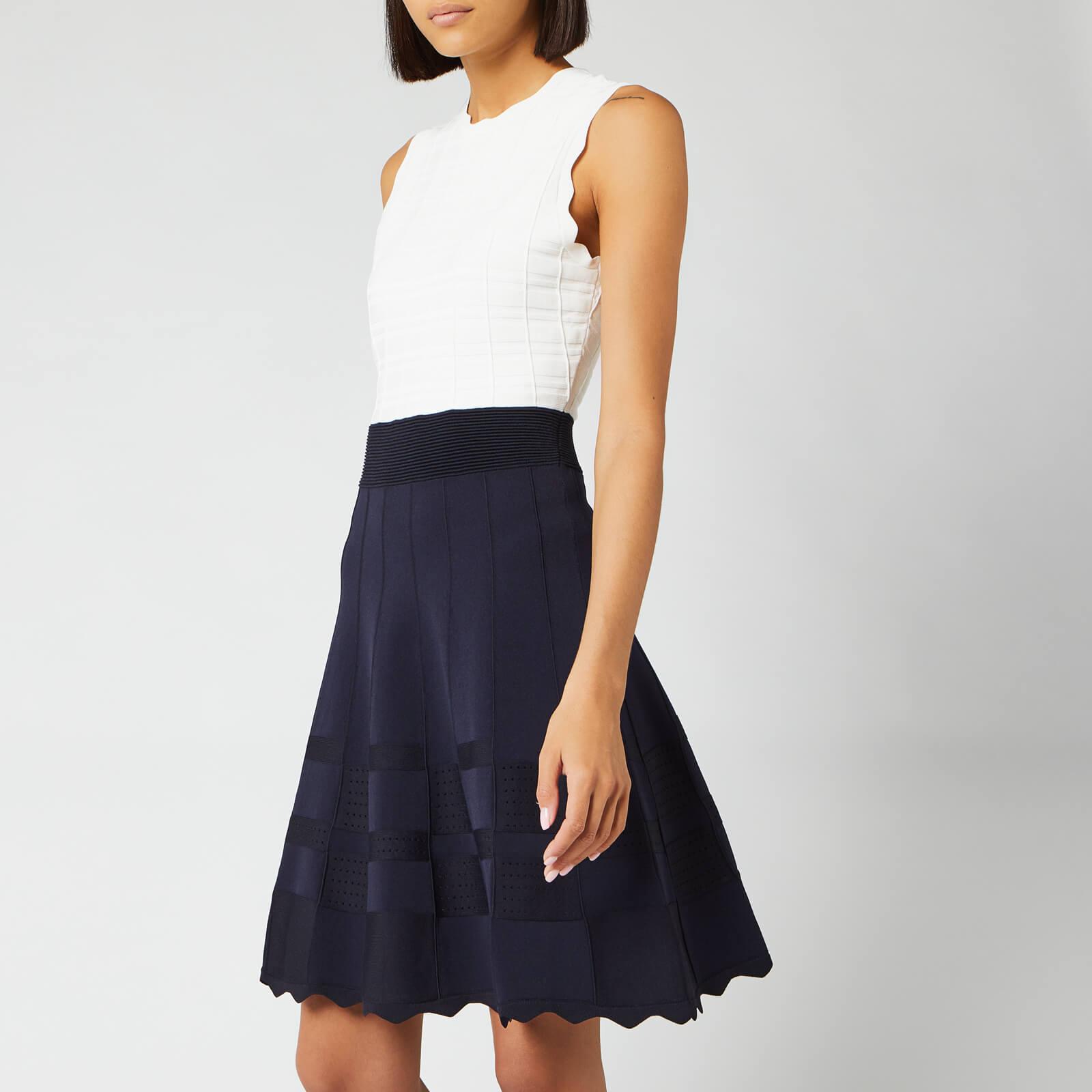 Ted Baker Women's Polino Contrast Skirt Knitted Dress - Dark Blue - 4/UK 14 - Blue