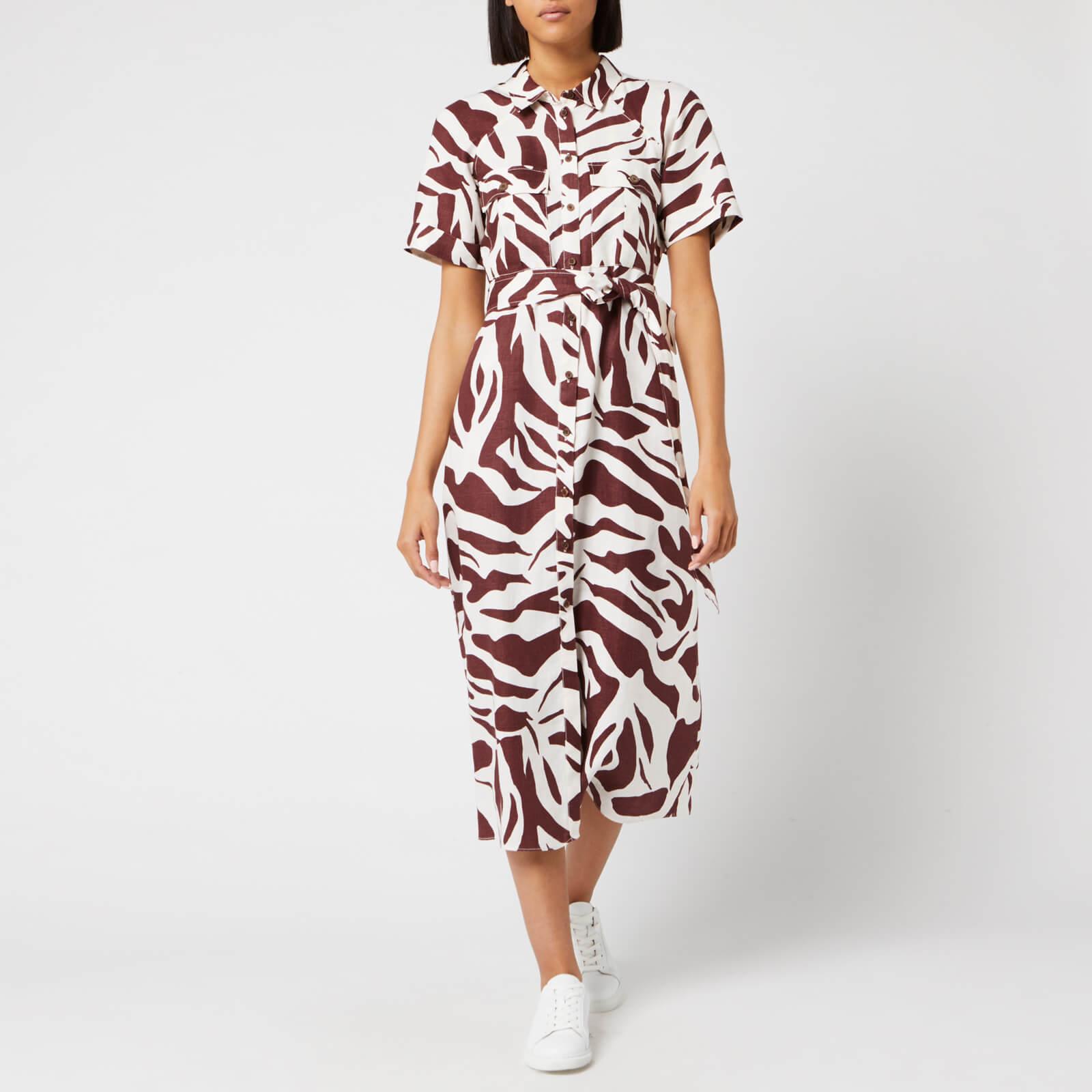 Whistles Women's Graphic Zebra Shirt Dress - Brown/Multi - UK 10 - Multi