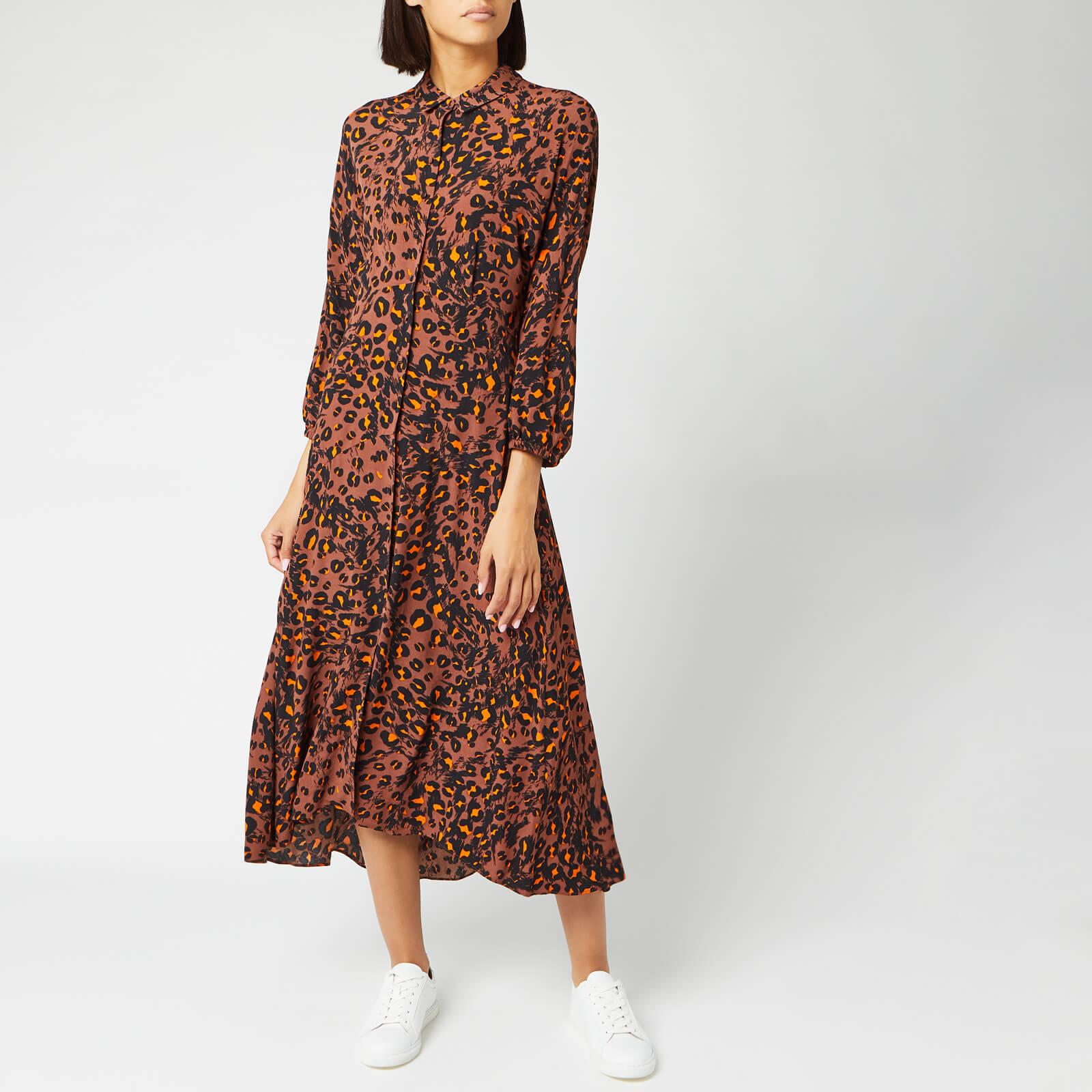 Whistles Women's Amara Brushed Leopard Shirt Dress - Brown/Multi - UK 6 - Brown