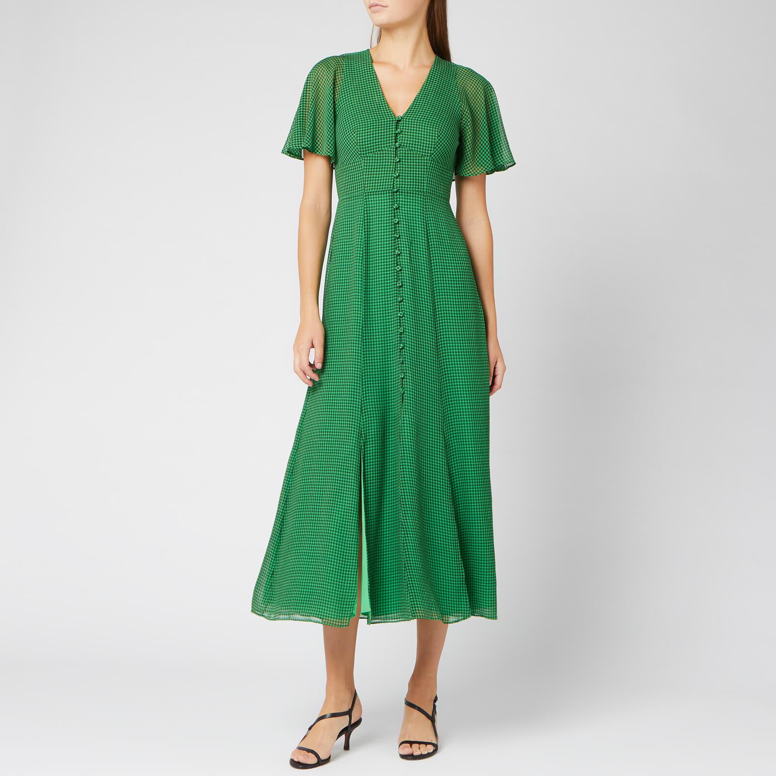 Whistles Women's Cecily Check Dress - Green/Multi - UK 12 - Green