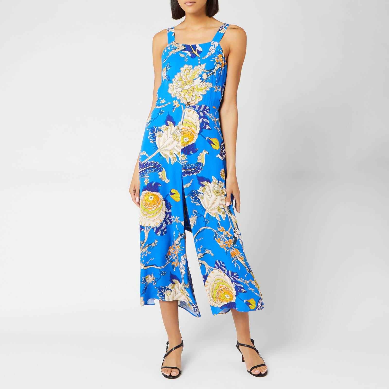 Whistles Women's Exotic Floral Strappy Jumpsuit - Blue/Multi - UK 10 - Blue