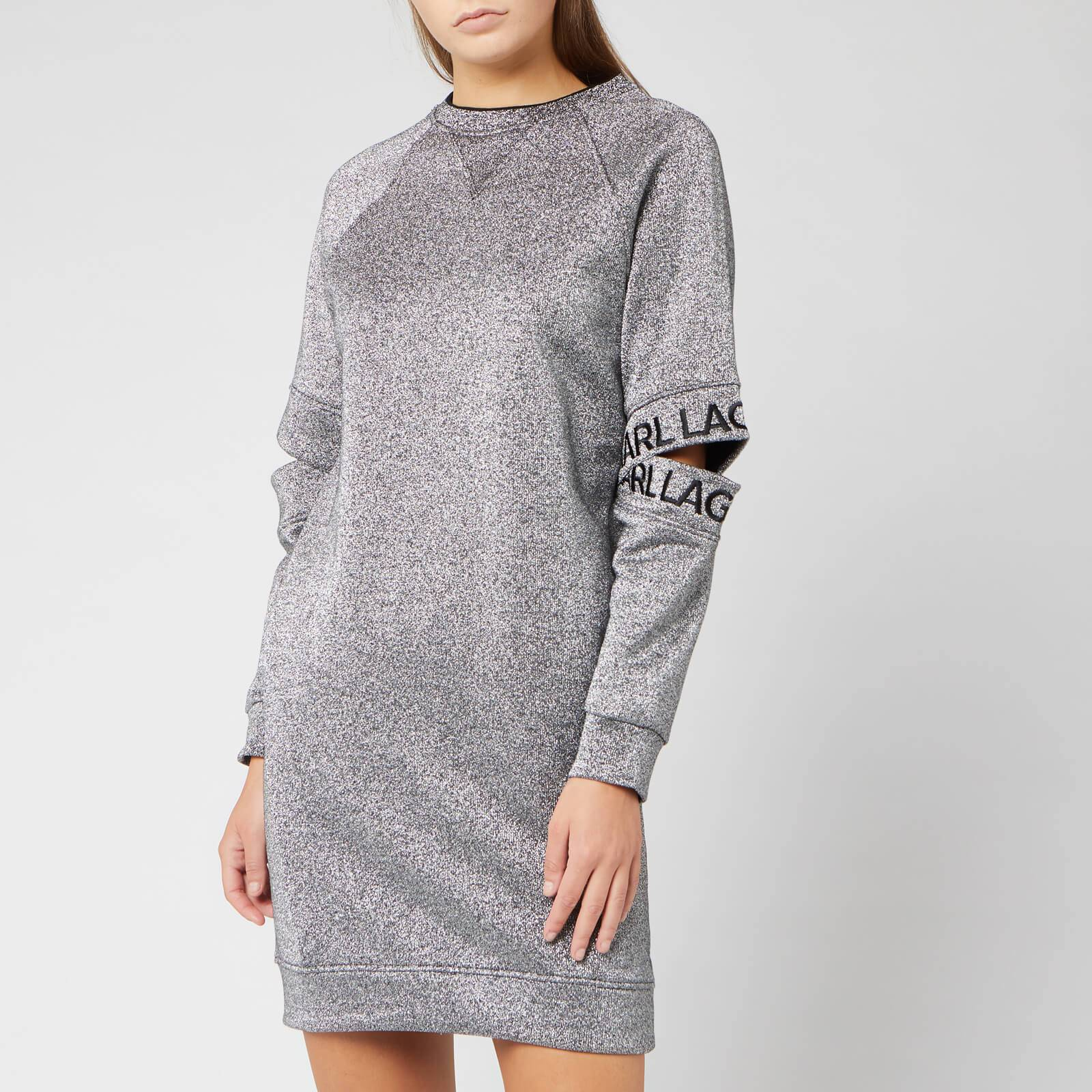 Karl Lagerfeld Women's Cut Out Sleeve Sweat Dress - Silver - M