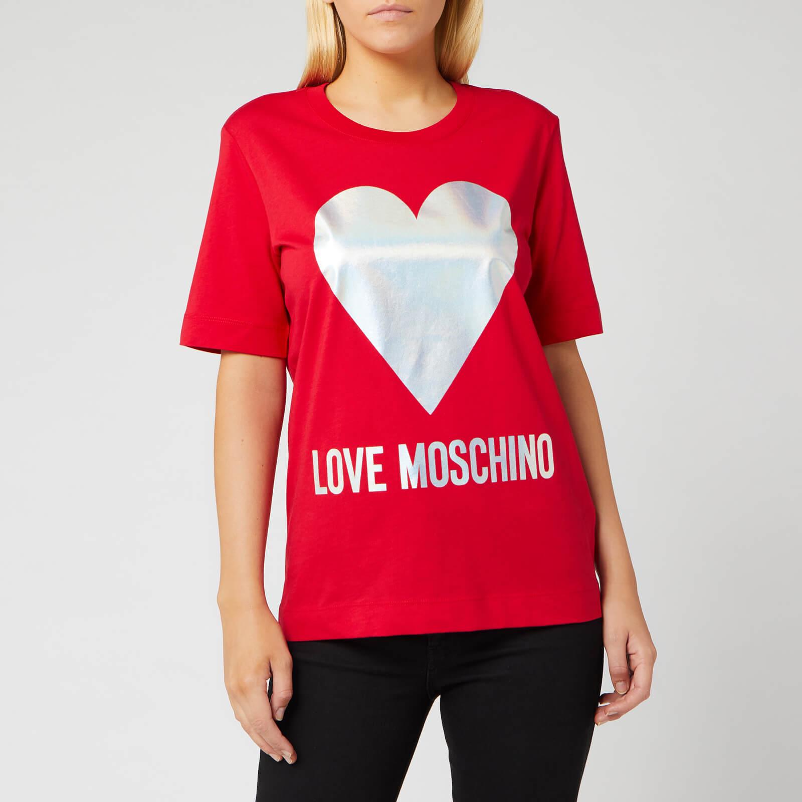 Moschino Love Moschino Women's Silver Heart T-Shirt - Red - IT 42/UK 10