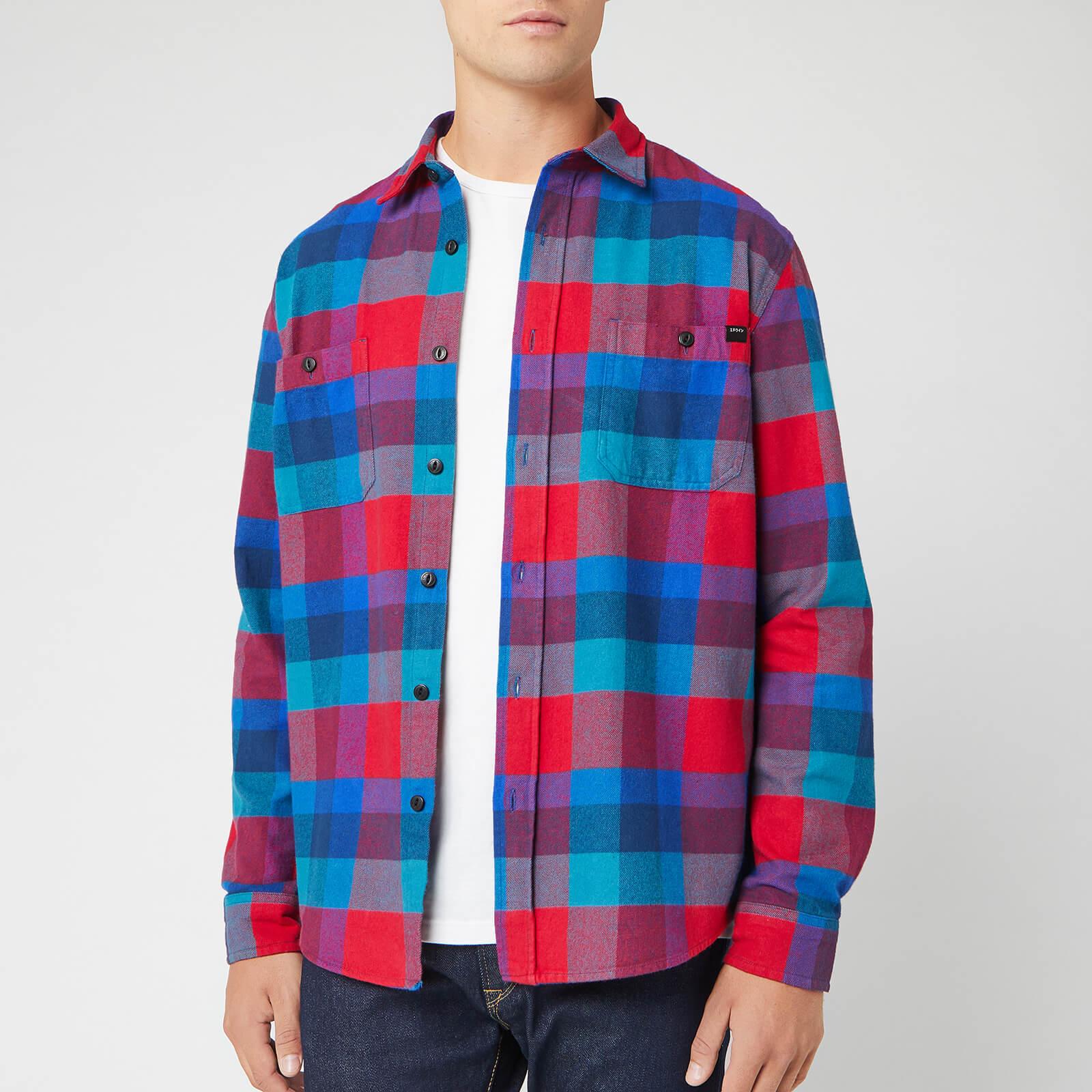 Edwin Men's Flanel Labour Shirt - Red/Dress Blue/Mazarine - M