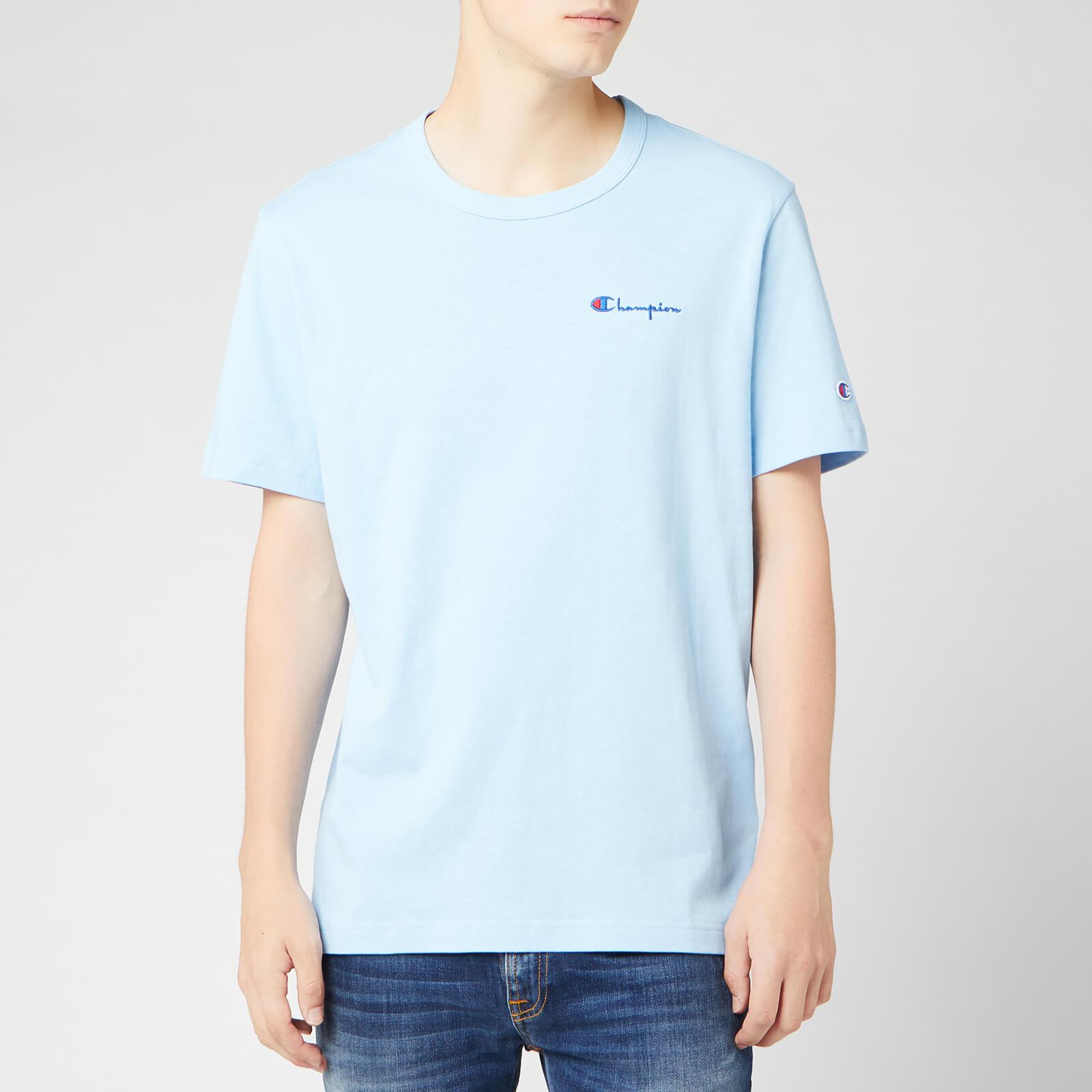 Champion Men's Small Script Crew Neck T-Shirt - Pale Blue - M
