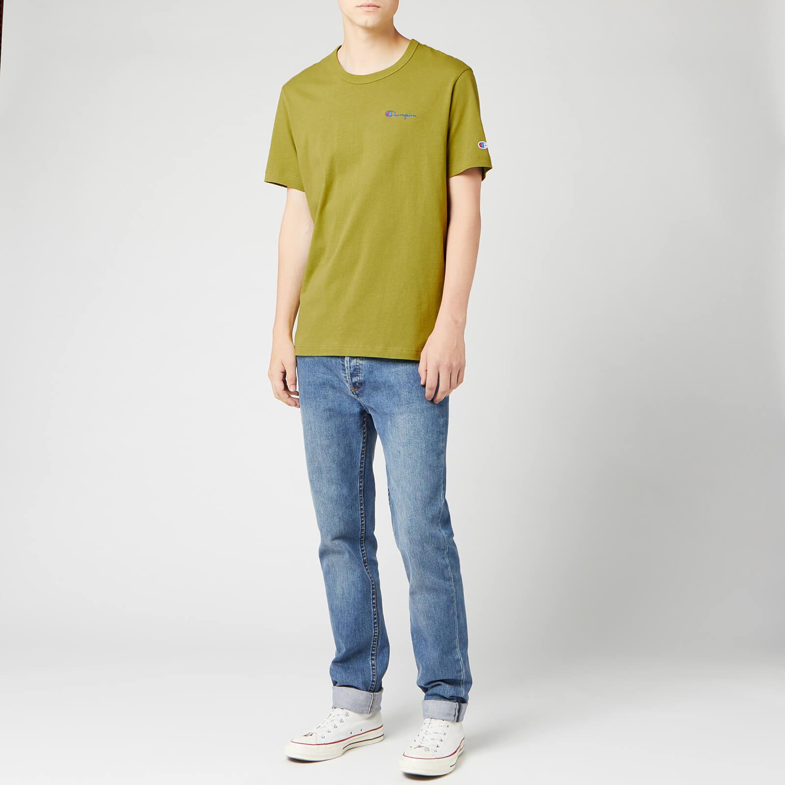 Champion Men's Small Script Crew Neck T-Shirt - Green - XS
