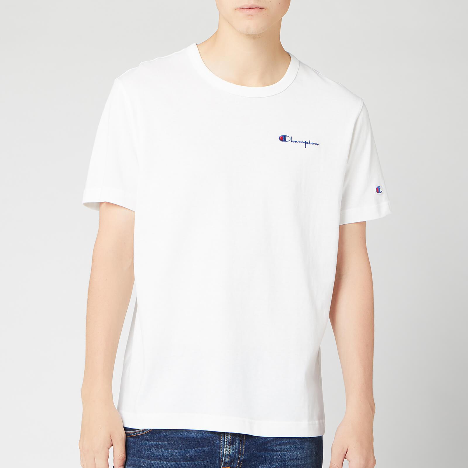 Champion Men's Small Script Crew Neck T-Shirt - White - L