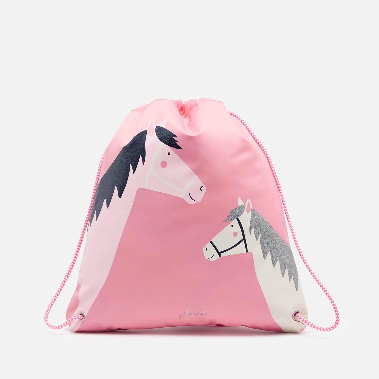 Joules Girls' Active Drawstring Bag - Pink Horses