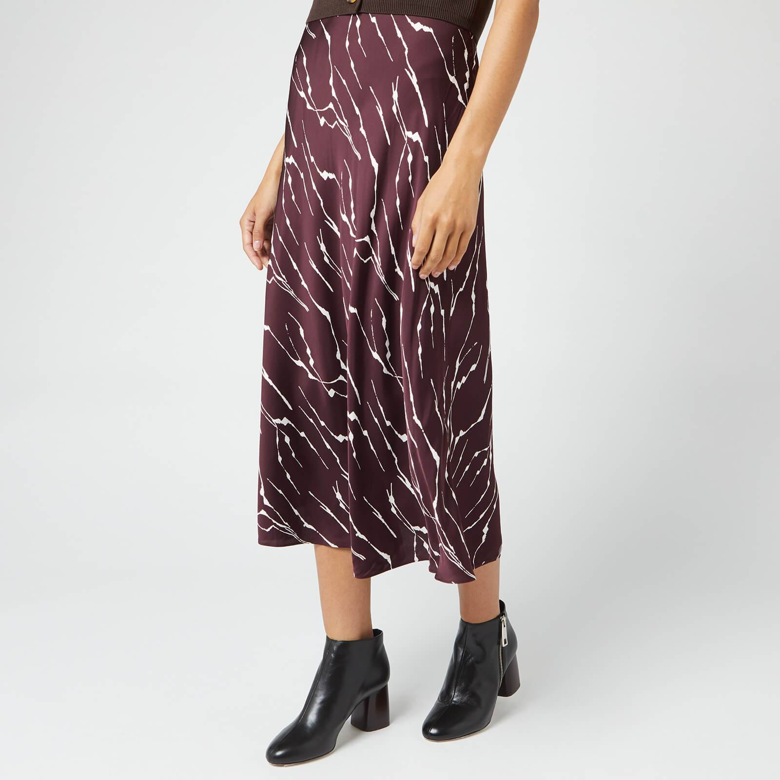 Whistles Women's Twig Silk Bias Skirt - Burgundy - UK 6
