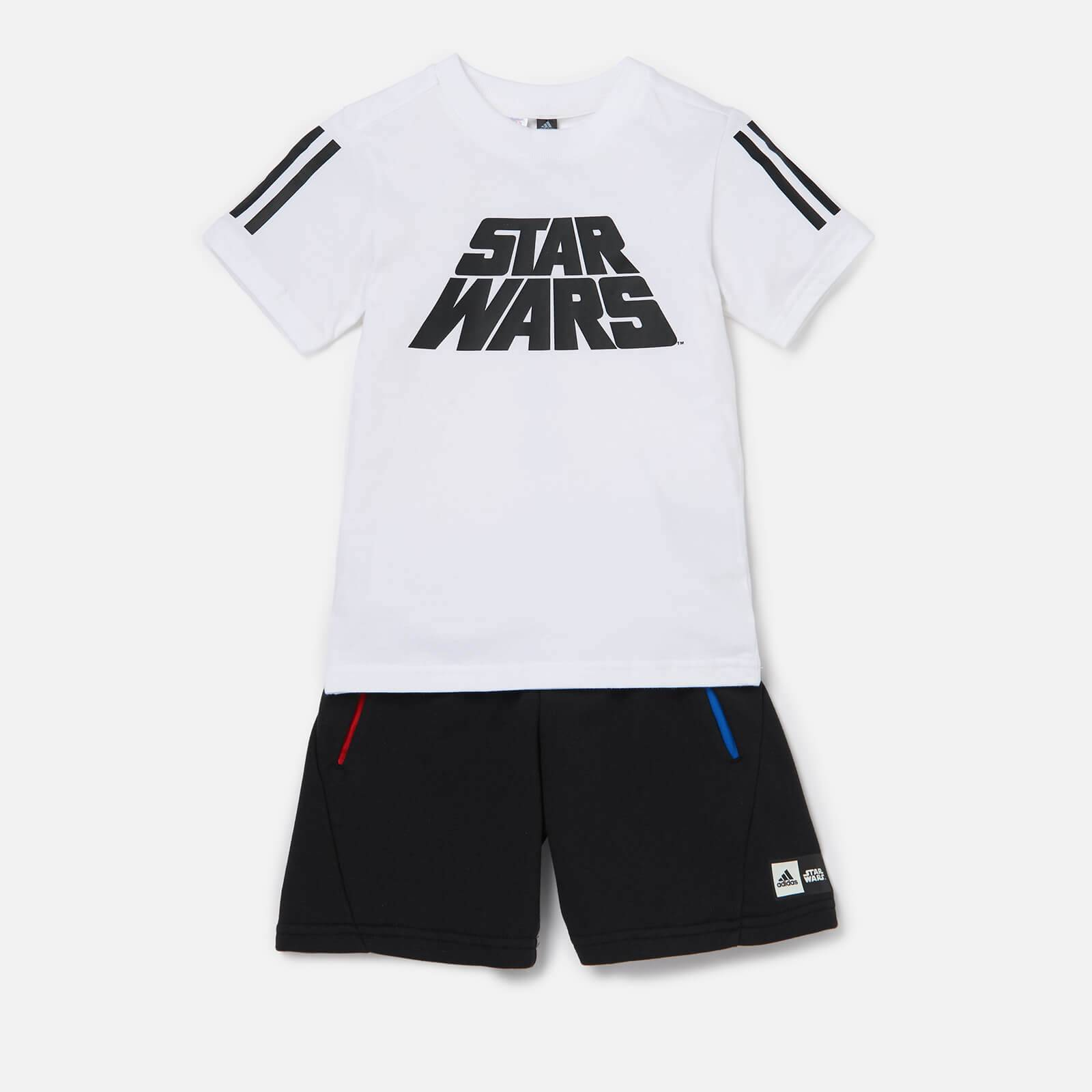 adidas Boys' Star Wars T-Shirt And Shorts Set - White - 6-7 Years