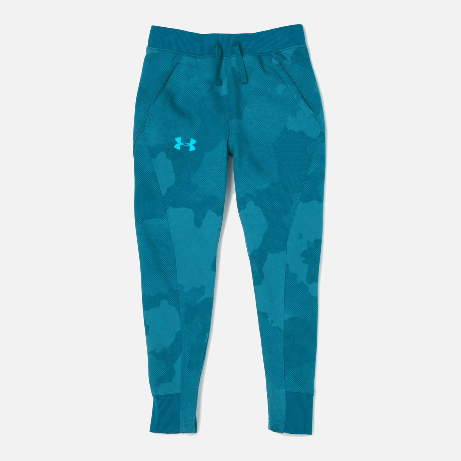 Under Armour Boys' Rival Printed Joggers - Techno Teal - M - Blue