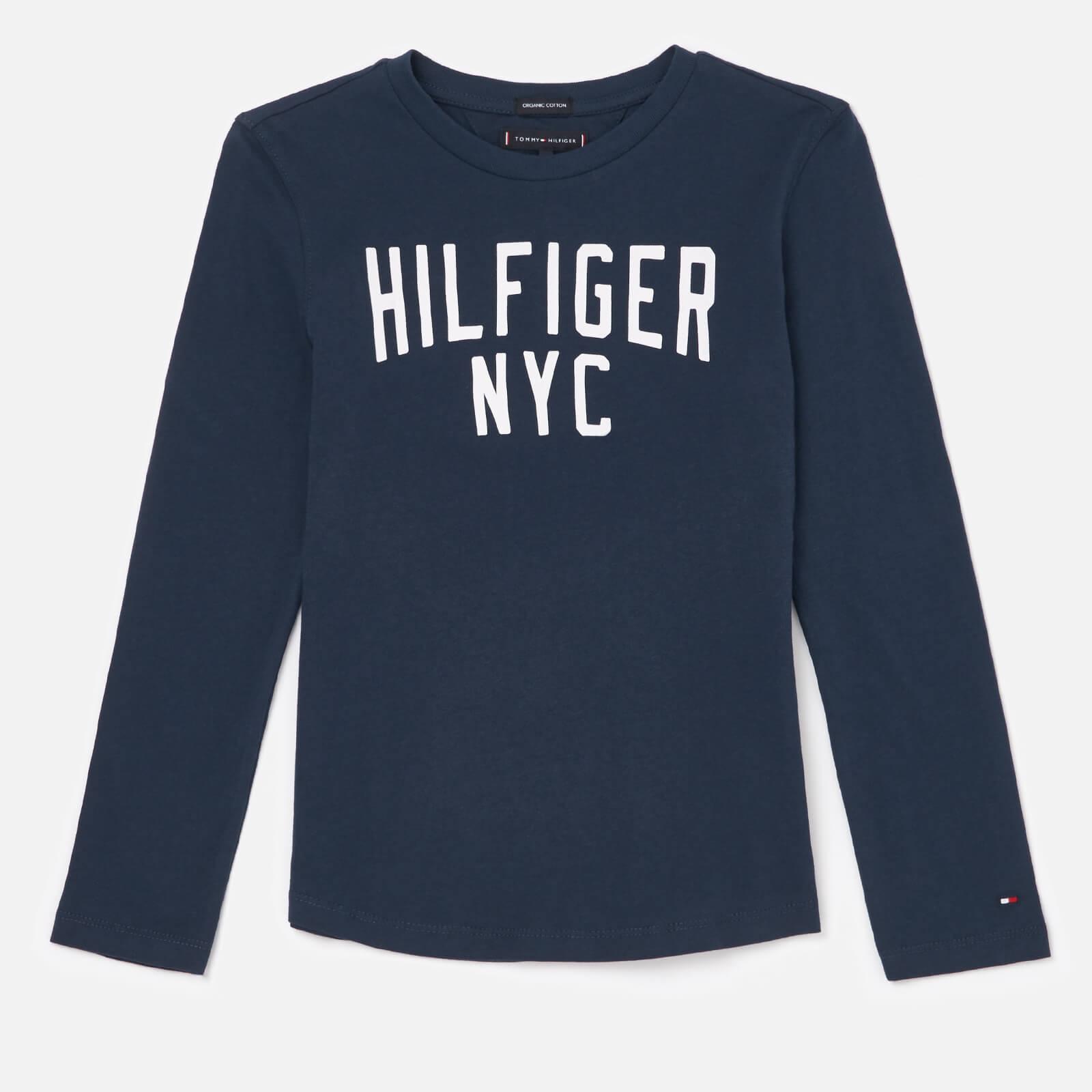 Tommy Hilfiger Boys' Essential Logo Long Sleeve T-Shirt - Black Iris - 7 Years - Blue