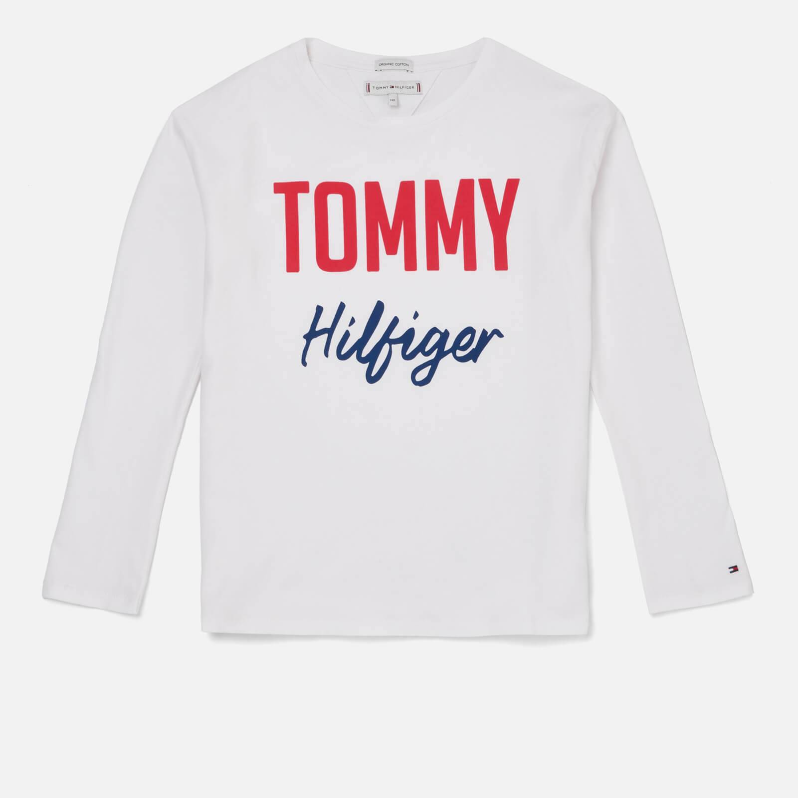 Tommy Hilfiger Girls' Essential Two Colour Long Sleeve T-Shirt - Bright White - 14 Years - White