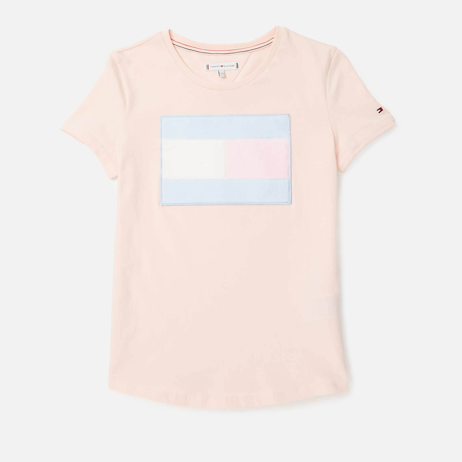 Tommy Hilfiger Girls' Fur Flag T-Shirt - Barely Pink - 8 Years - Pink