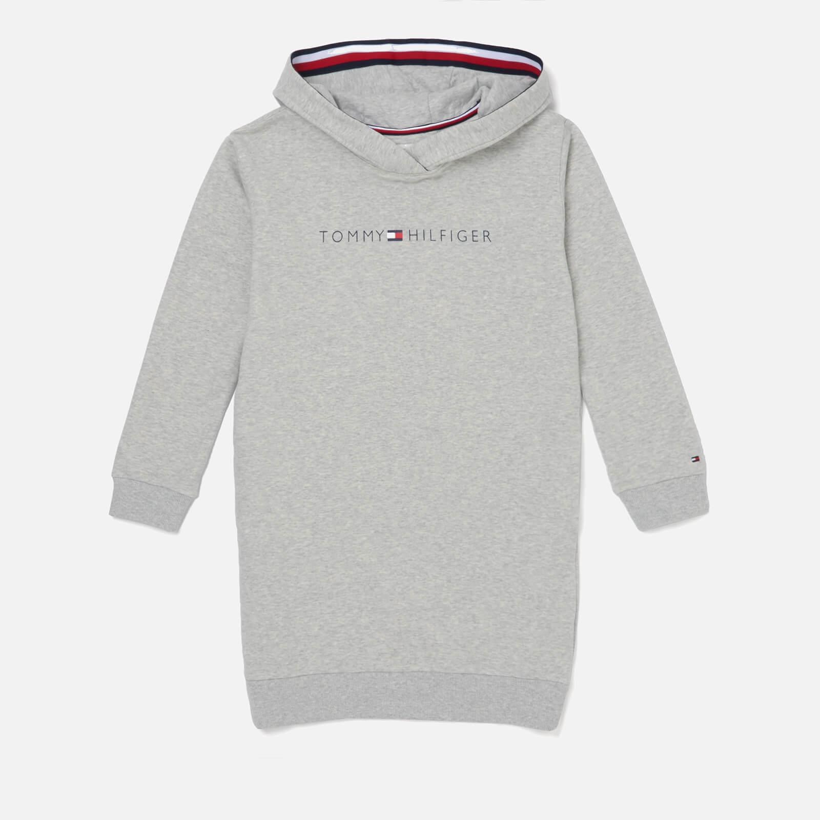 Tommy Hilfiger Girls' Essentials Hoodie Dress - Light Grey Heather - 7 Years - Grey